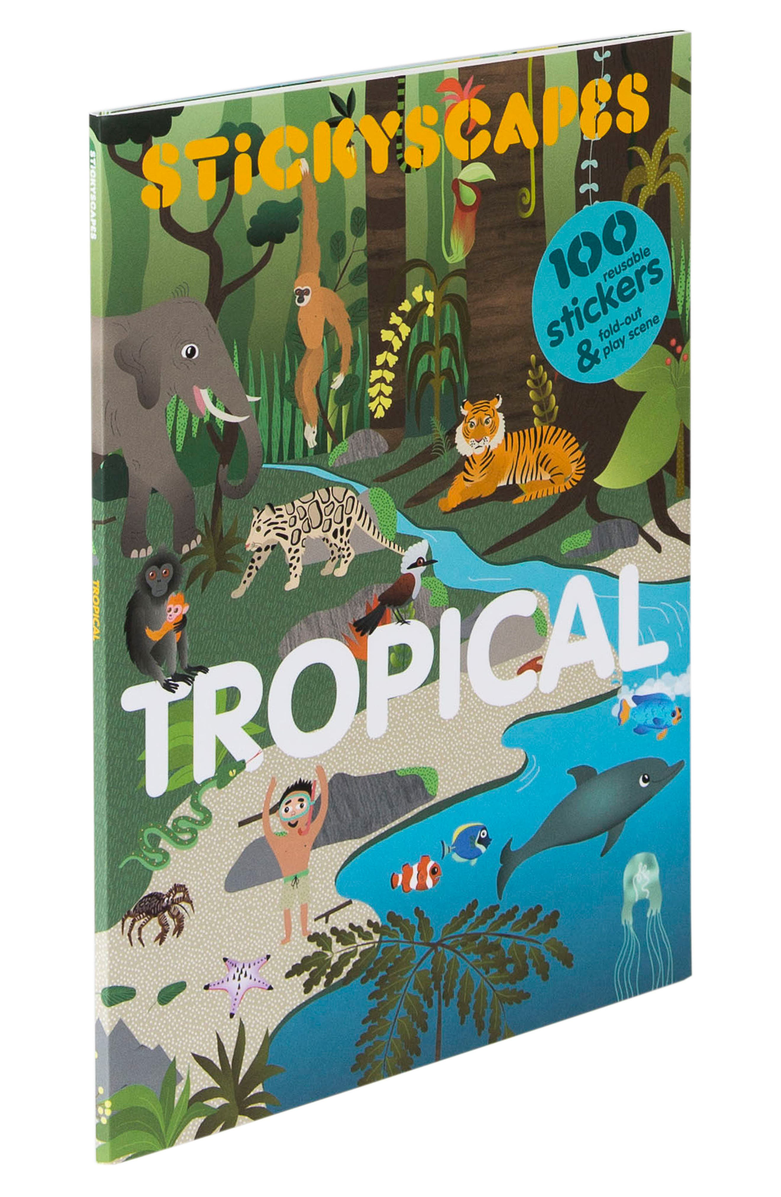 'Stickyscapes: Tropical' Adventure Activity Sticker Book,                         Main,                         color, Green