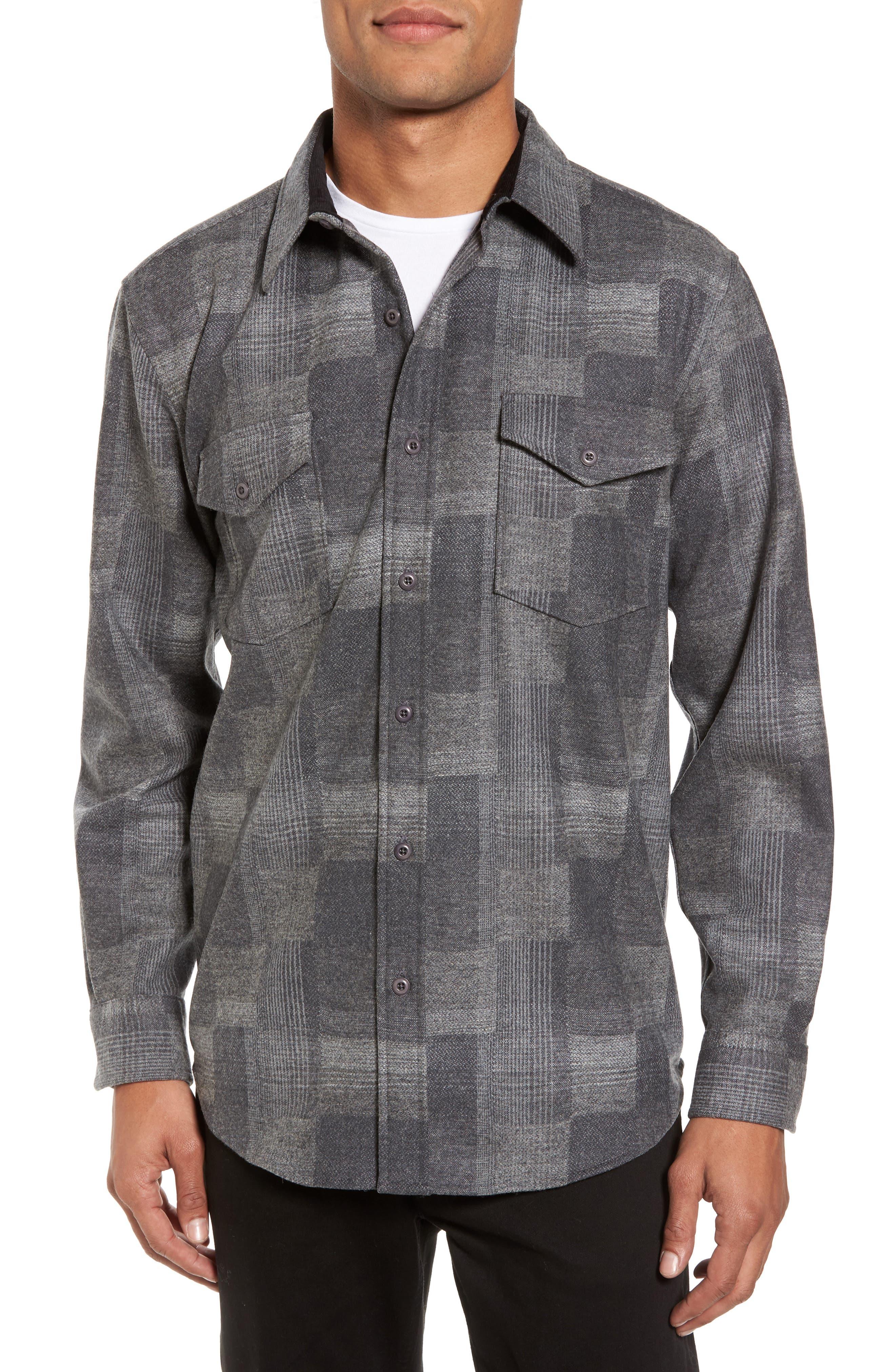 Boro Wool Shirt,                         Main,                         color, Grey