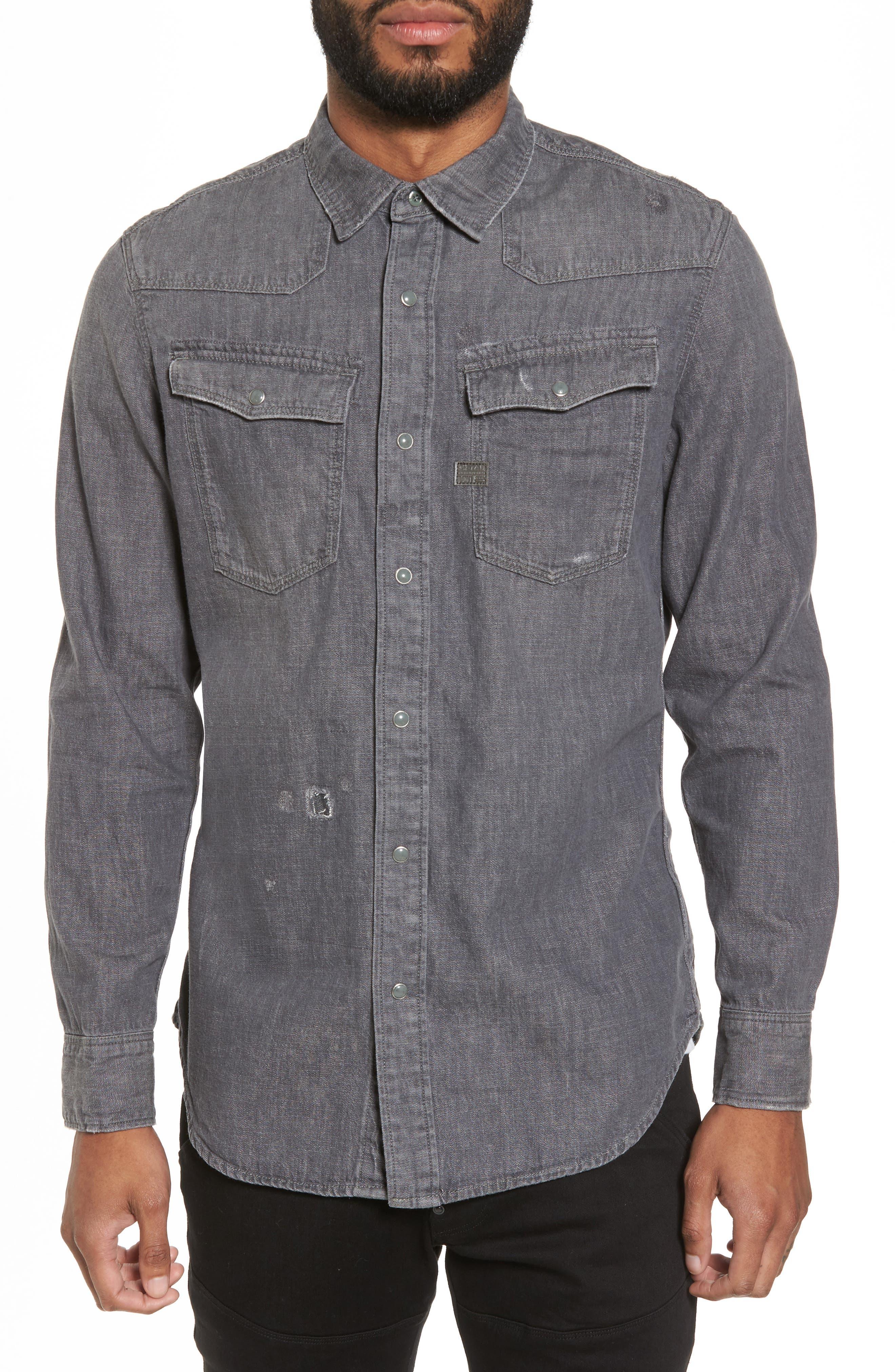 3301 Craser Denim Shirt,                         Main,                         color, Medium Aged Restored