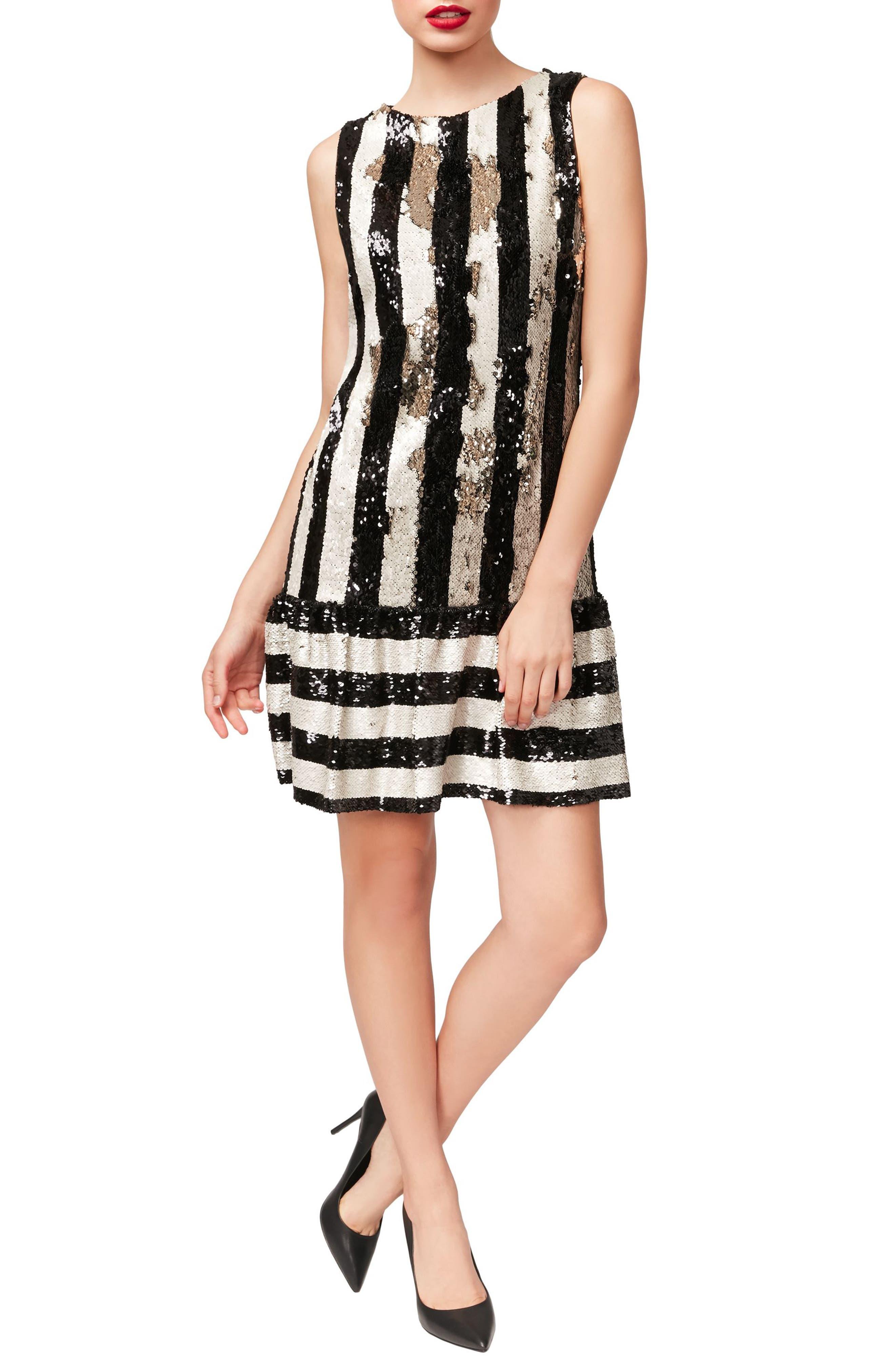 Betsey Johnson Sequins Flounce Dress