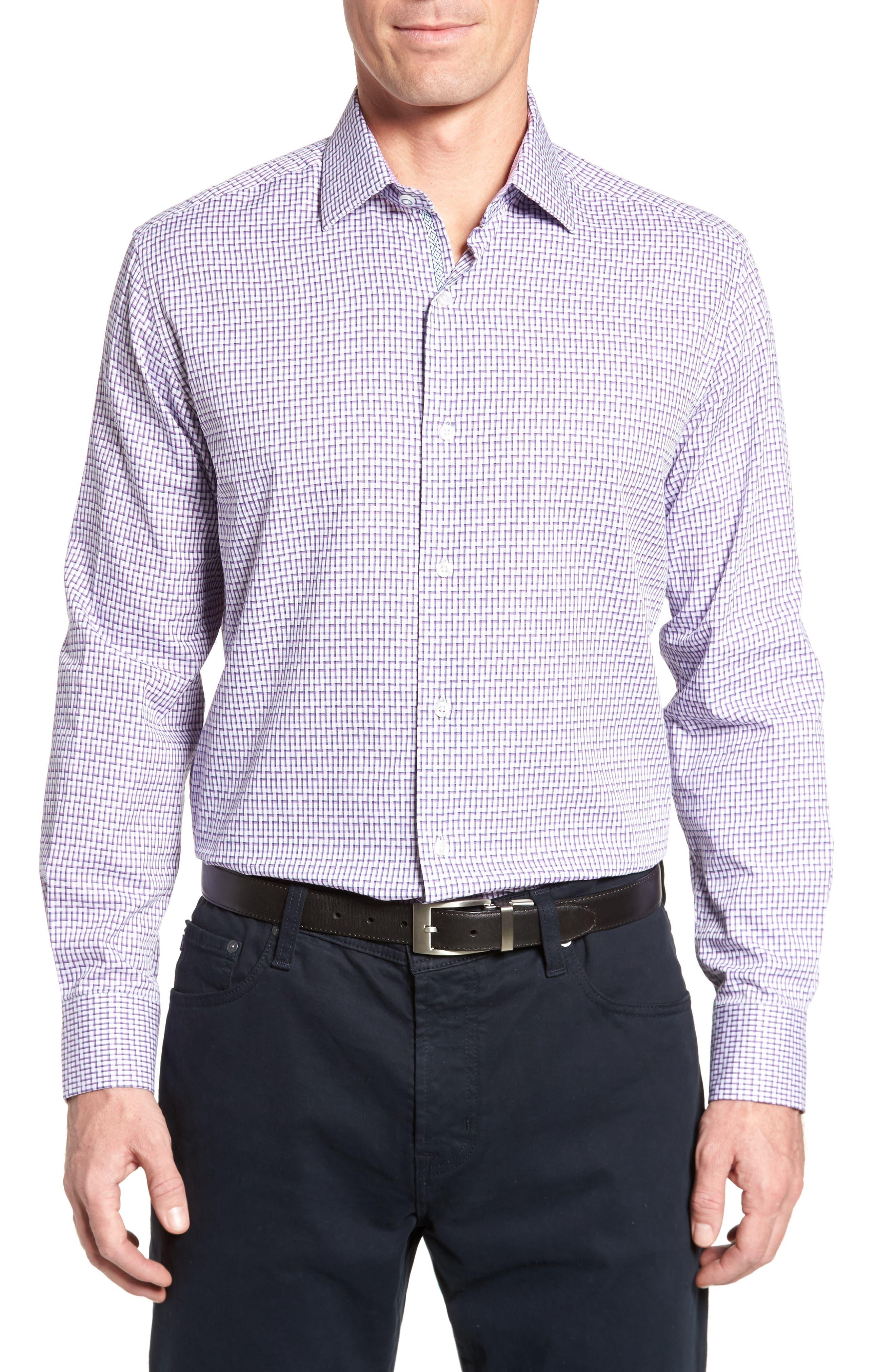 Pineville Print Sport Shirt,                         Main,                         color, Purple