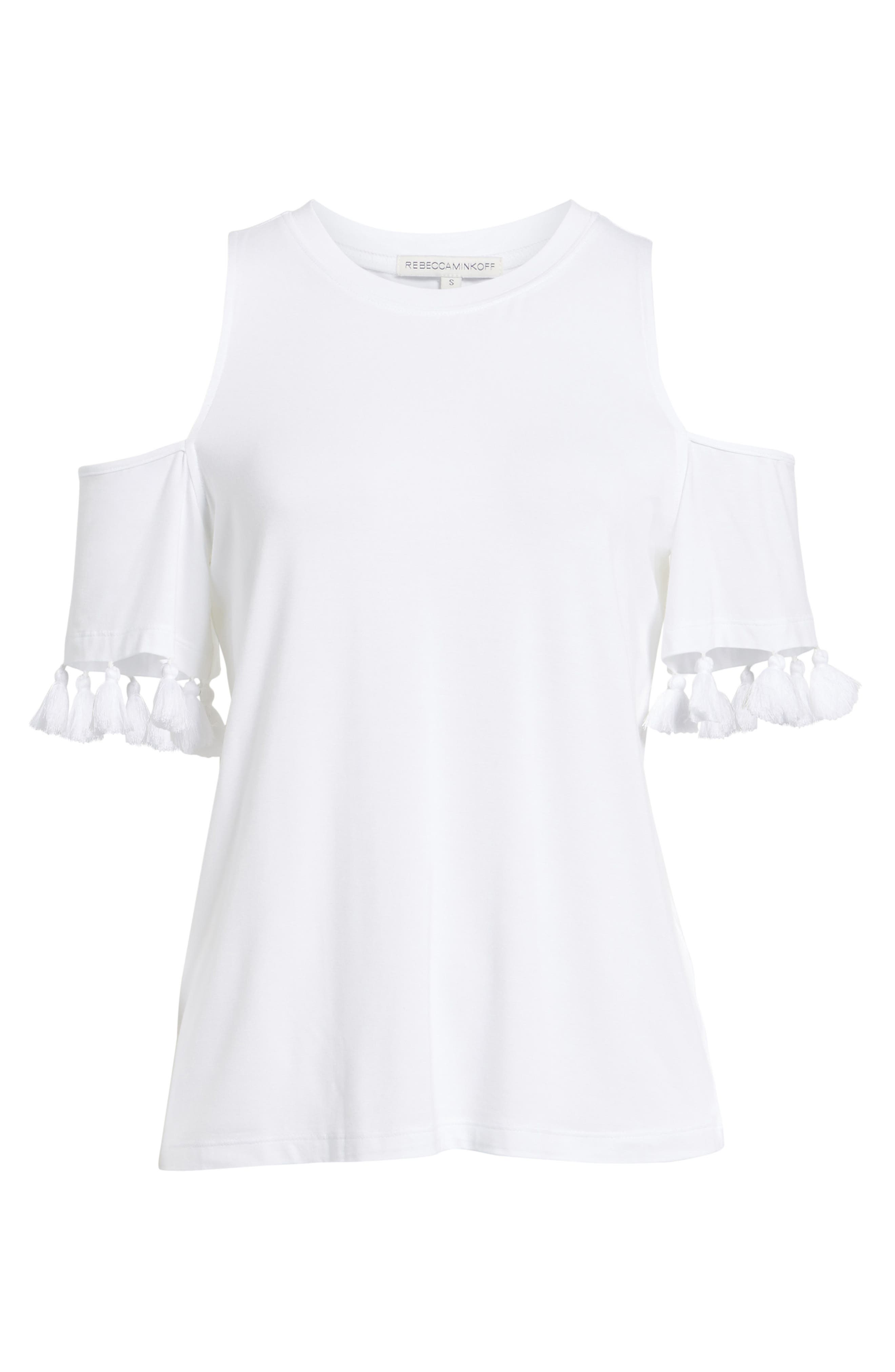Theora Cold Shoulder Tee,                             Alternate thumbnail 6, color,                             White