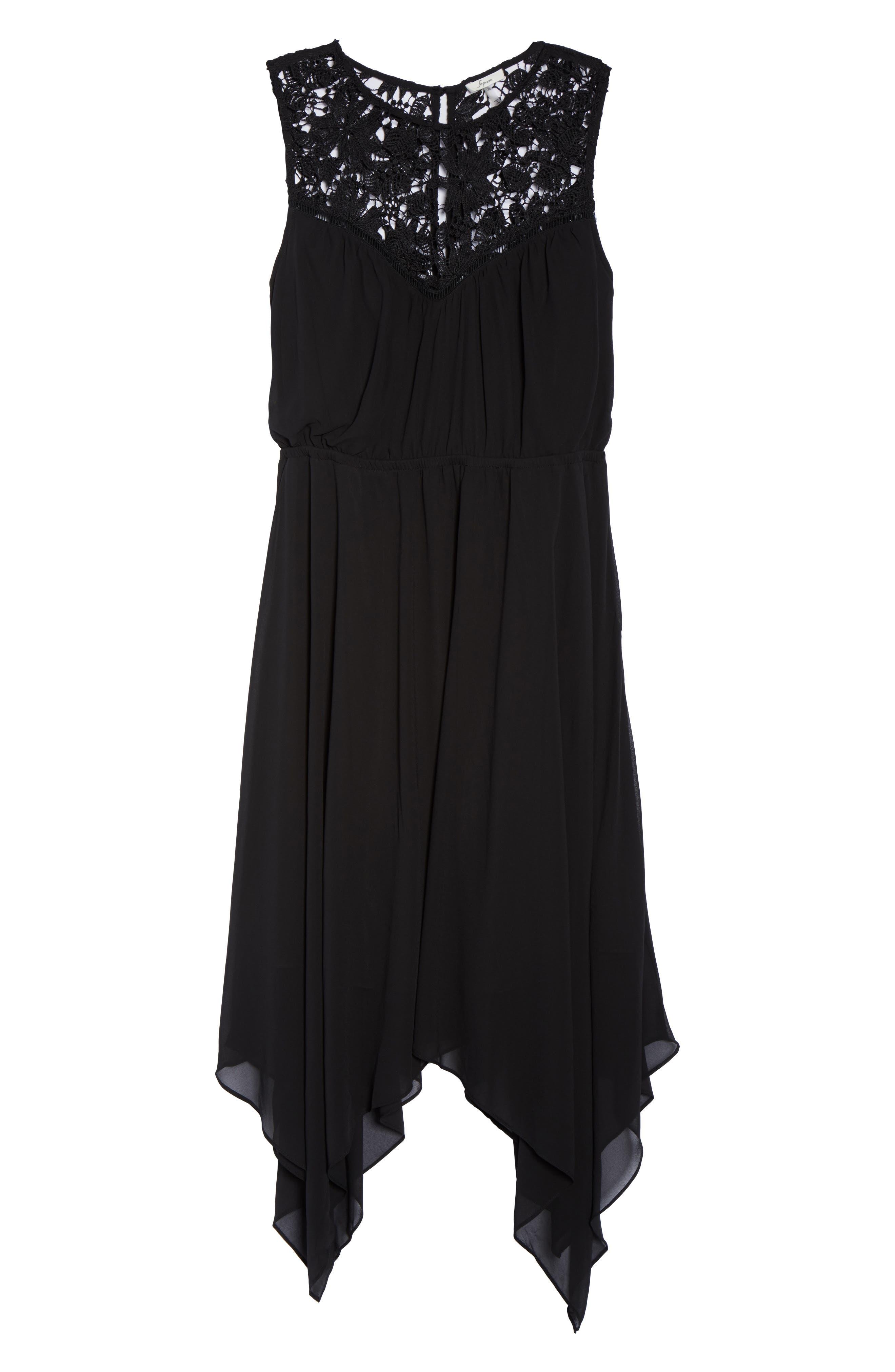 Handkerchief Hem Dress,                             Alternate thumbnail 6, color,                             Black