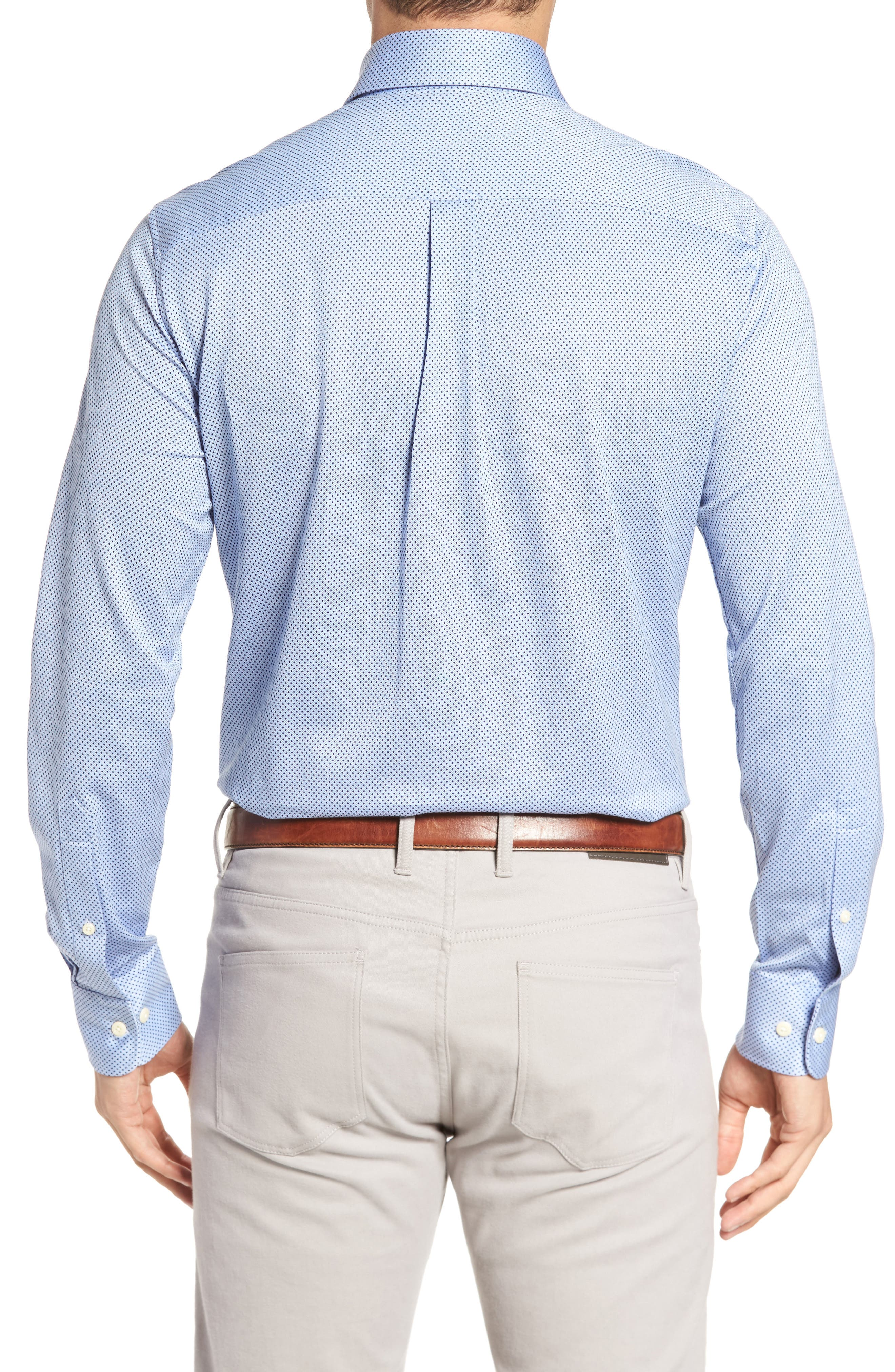 Mesh Dot Classic Fit Sport Shirt,                             Alternate thumbnail 2, color,                             Tar Heel Blue