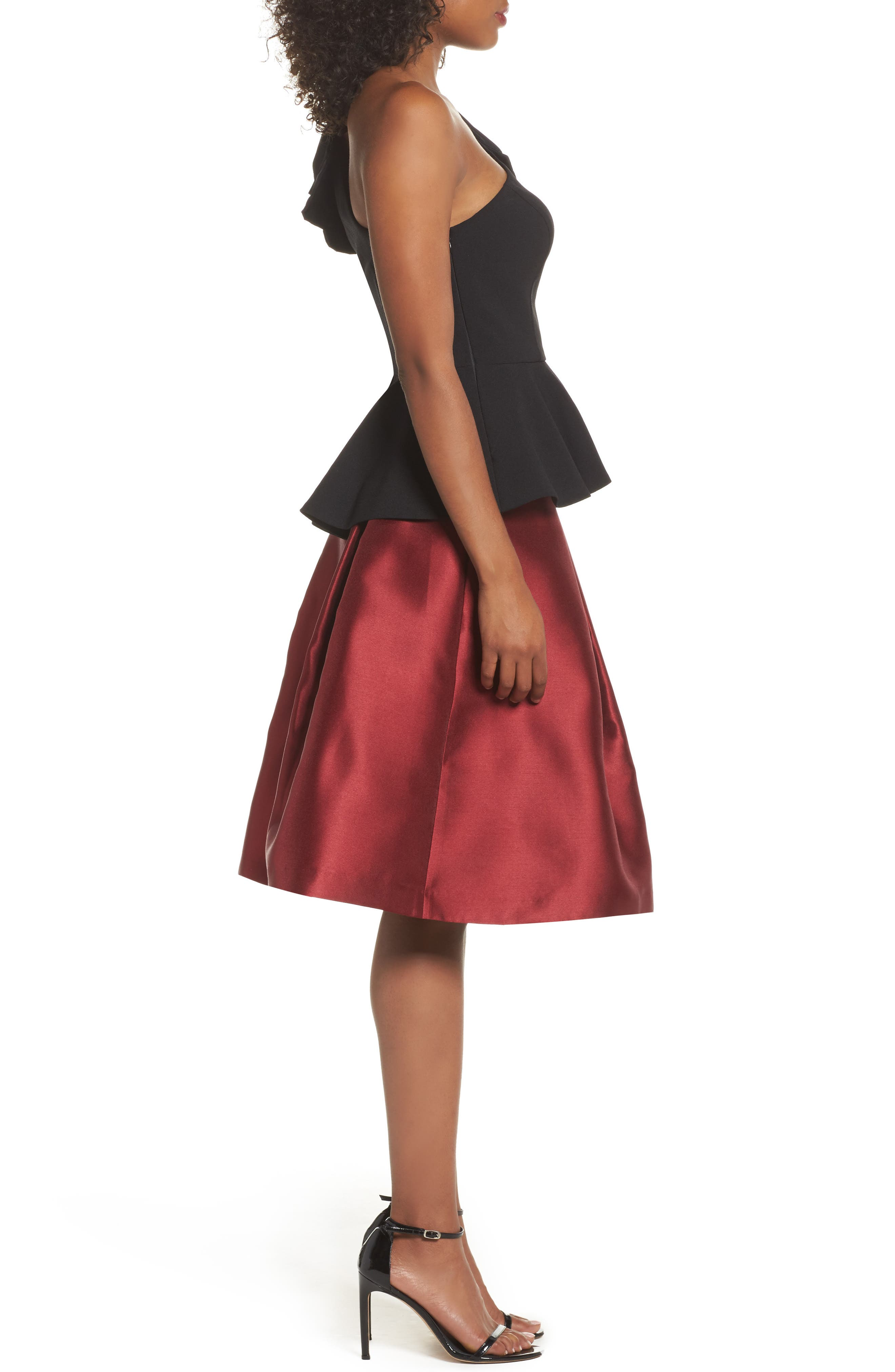 Pleated Mikado Skirt,                             Alternate thumbnail 4, color,                             Red