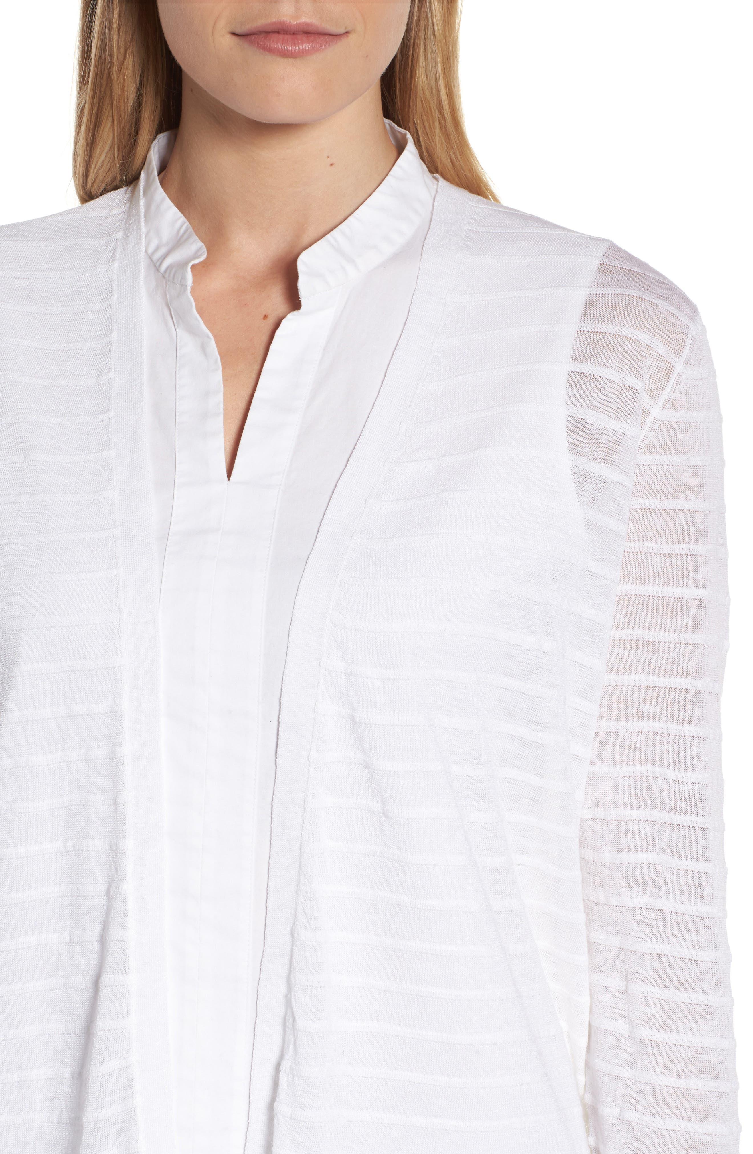 Alternate Image 4  - Eileen Fisher Long Organic Linen Blend Jacquard Cardigan