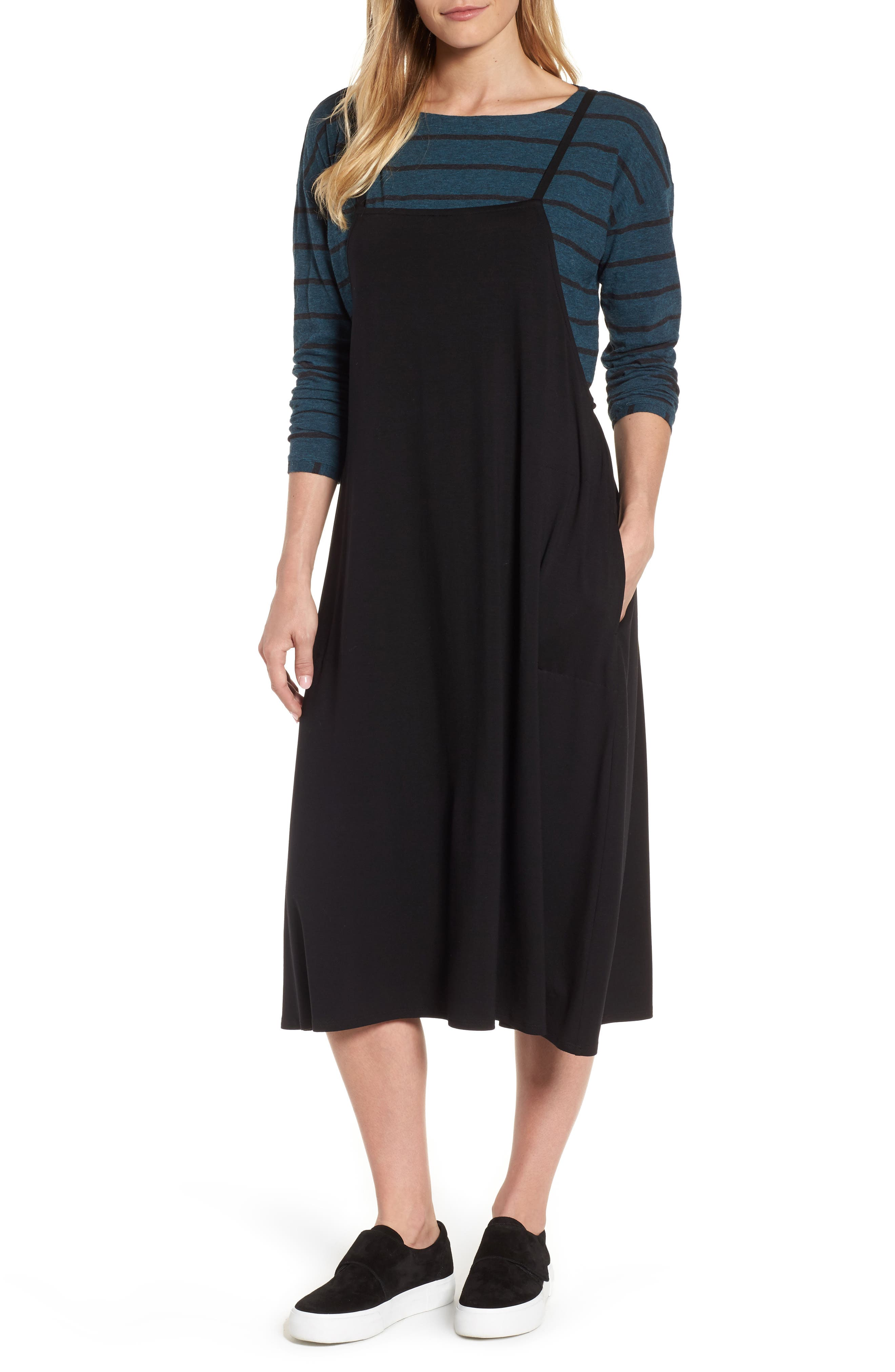 Stretch Tencel<sup>®</sup> Lyocell Jumper Dress,                         Main,                         color, Black