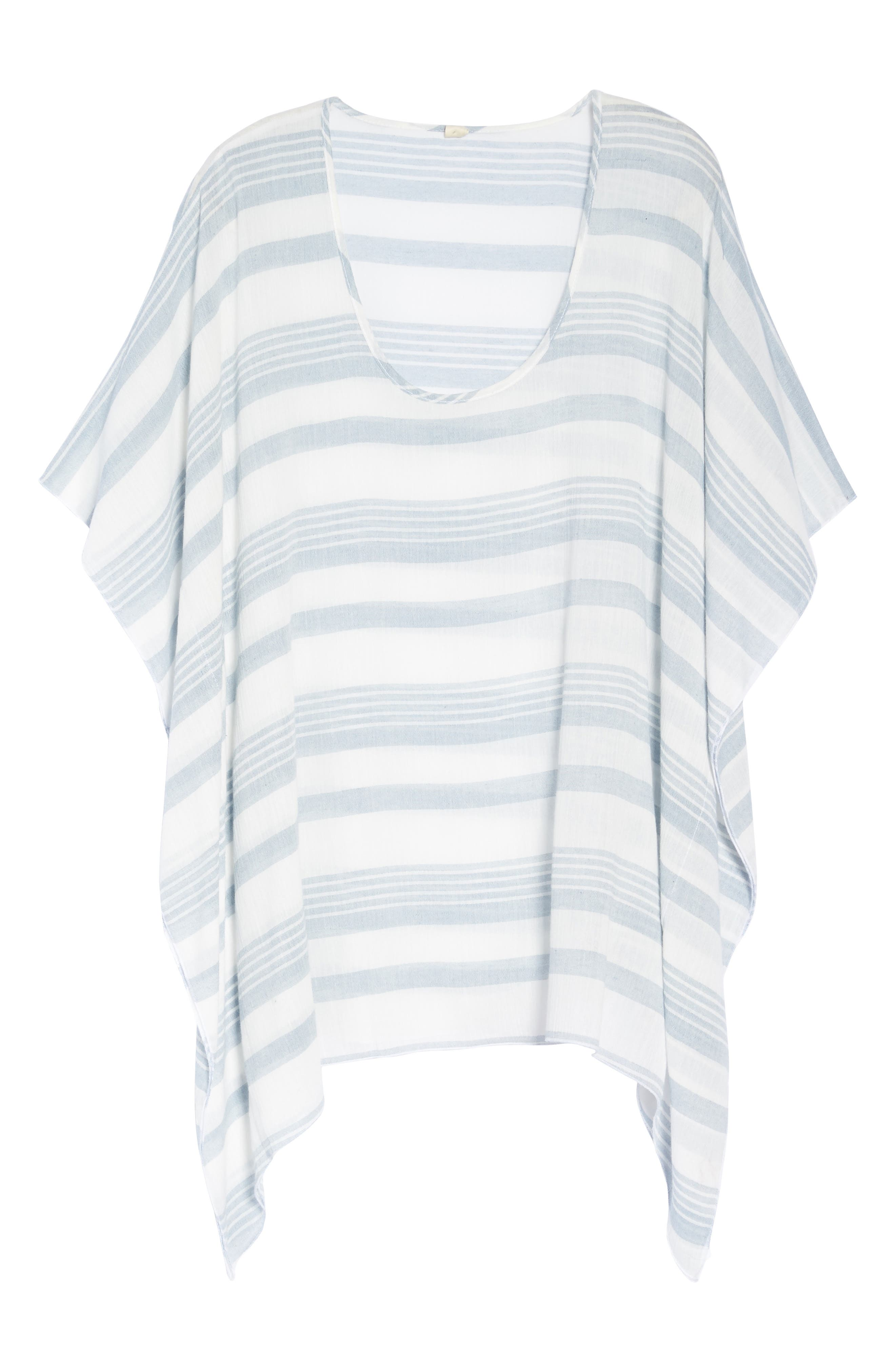 Stripe Poncho Cover-Up,                             Alternate thumbnail 6, color,                             Dusty Blue Stripe