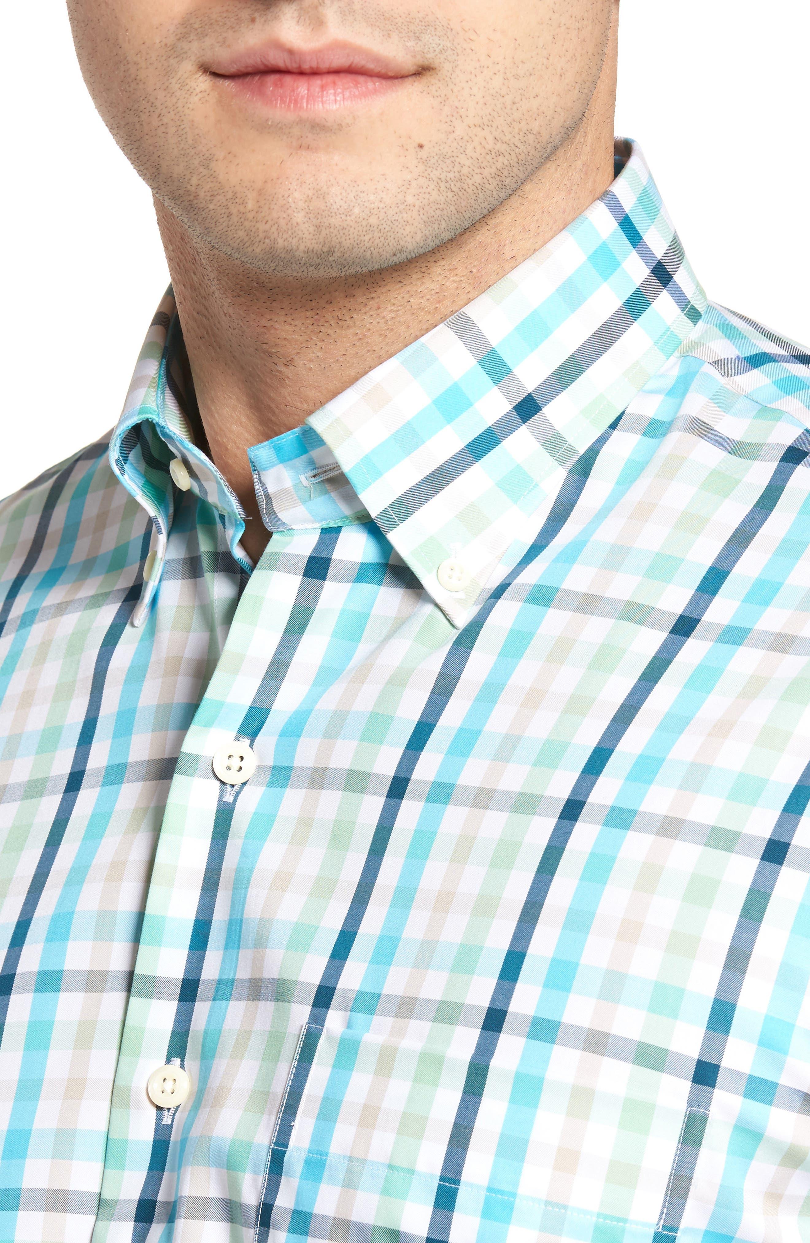 Classic Fit Crown Ease Kohala Check Sport Shirt,                             Alternate thumbnail 4, color,                             Blue Fish