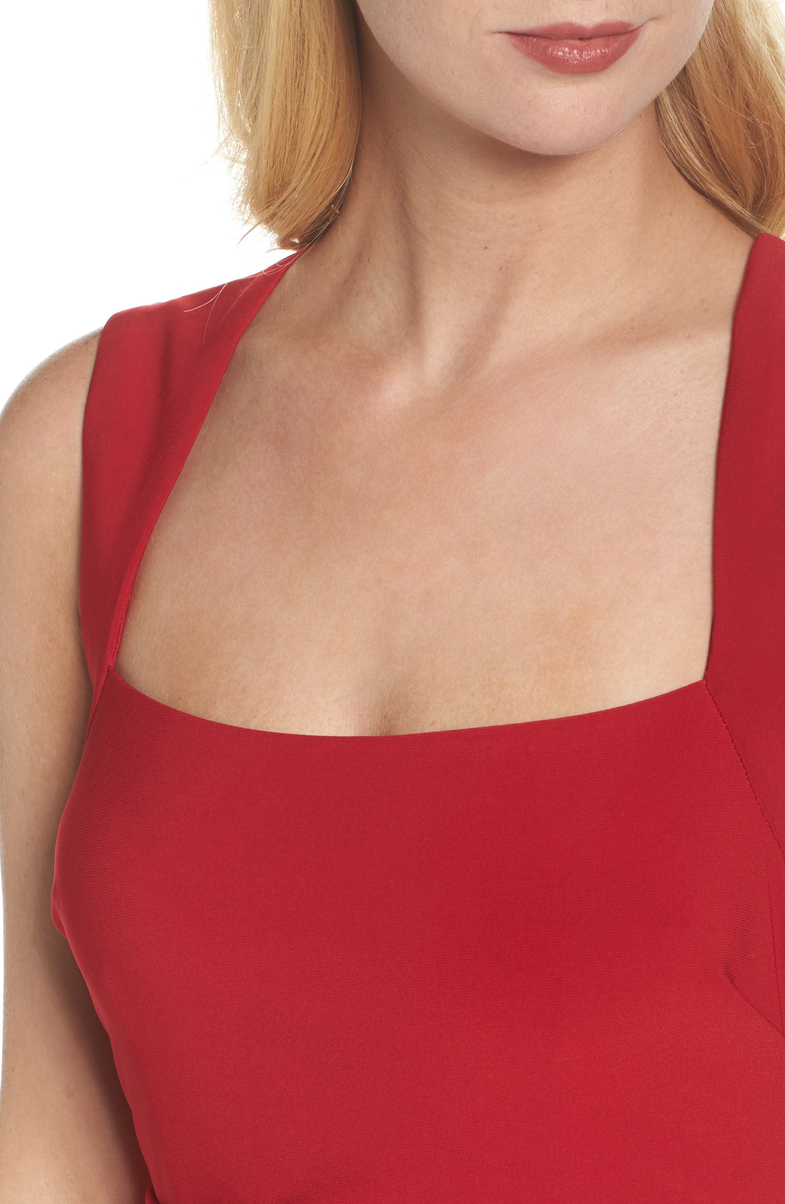Square Neck Ruched Gown,                             Alternate thumbnail 4, color,                             Cardinal