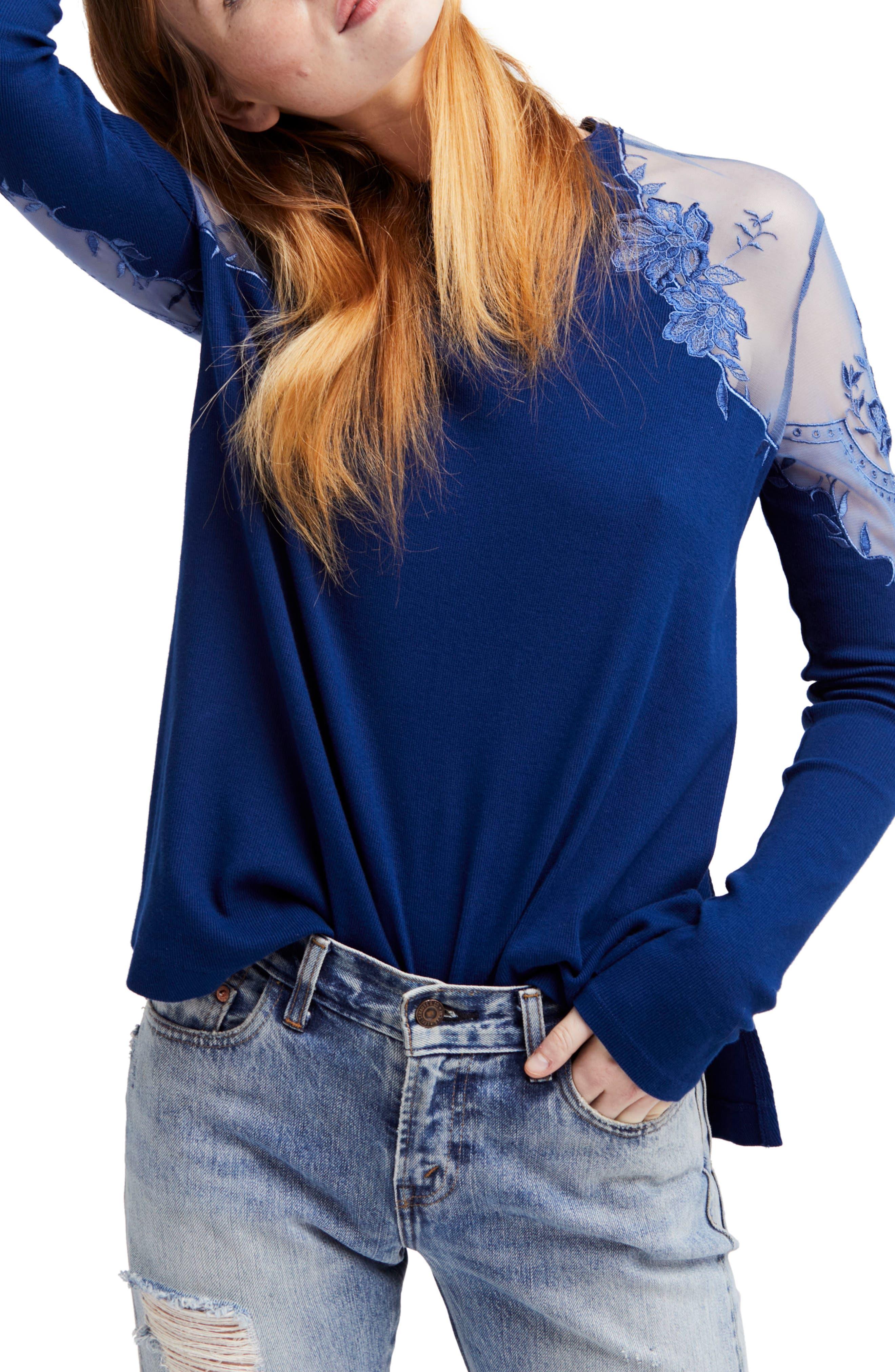 Daniella Lace Top,                         Main,                         color, Blue