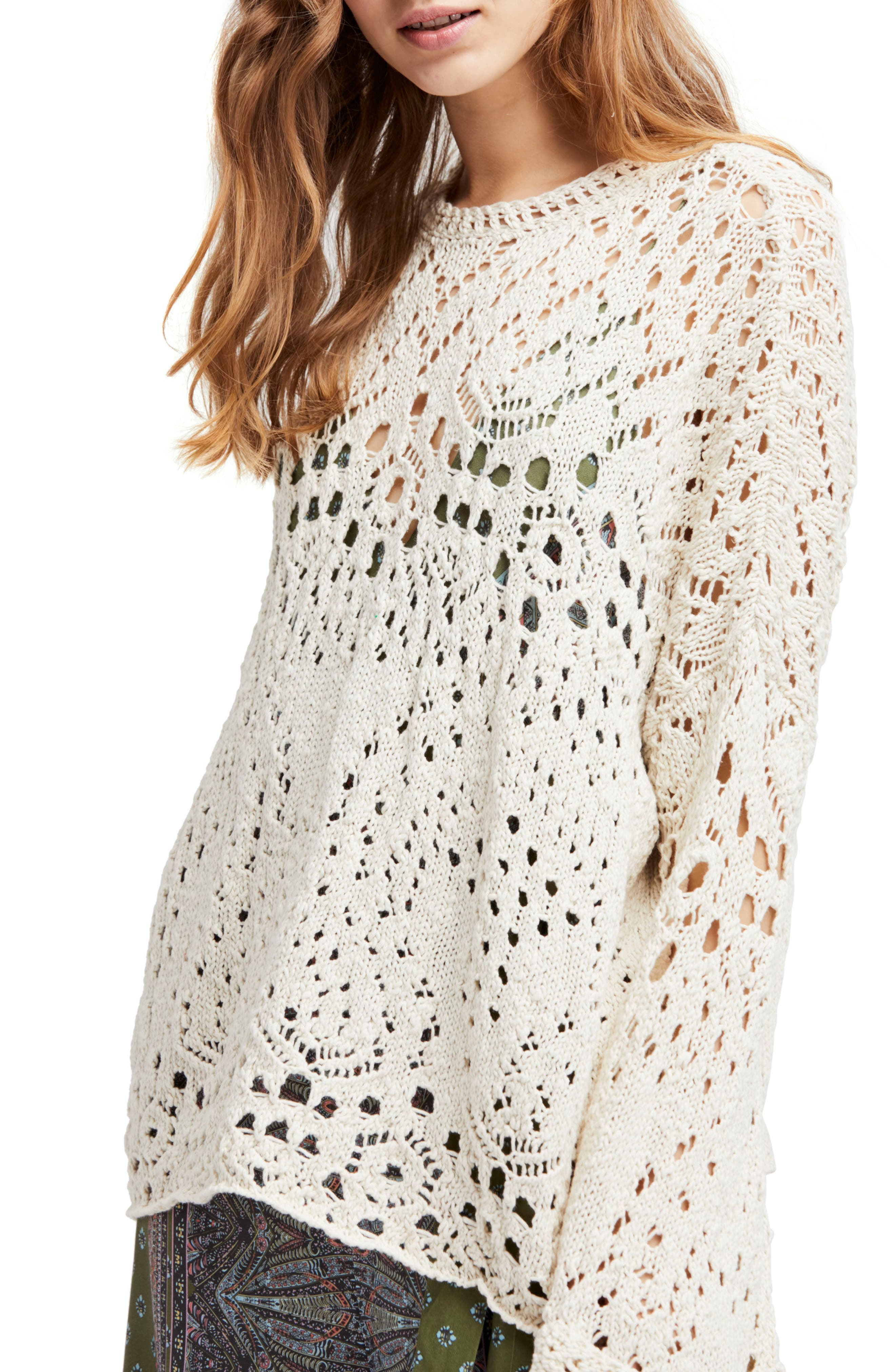 Traveling Lace Sweater,                         Main,                         color, Ivory
