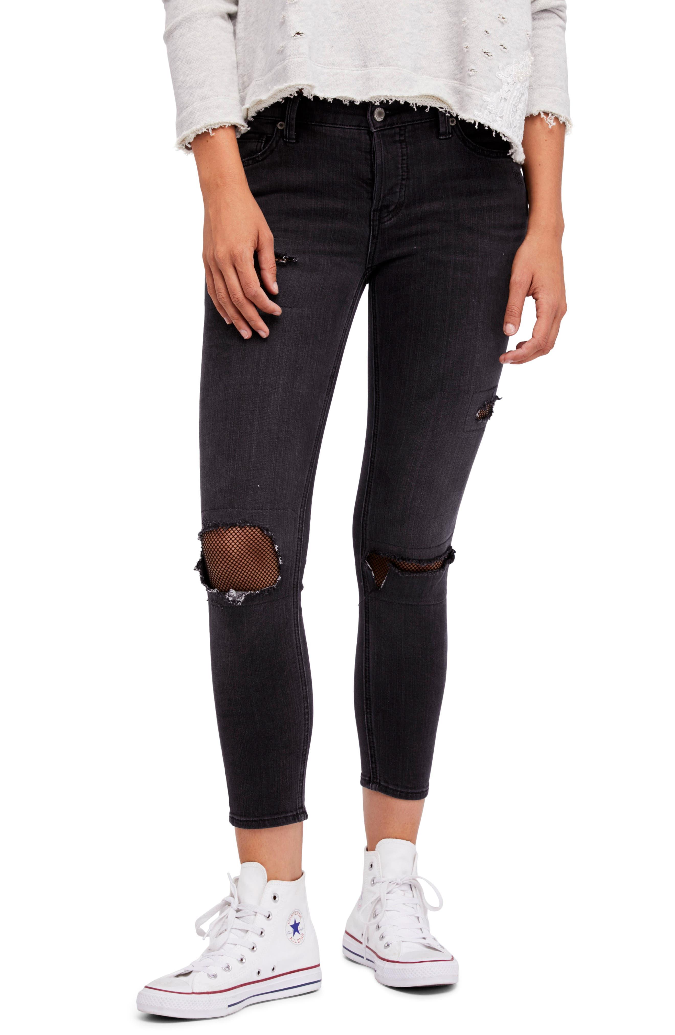 Fishnet Crop Skinny Jeans,                             Main thumbnail 1, color,                             Black
