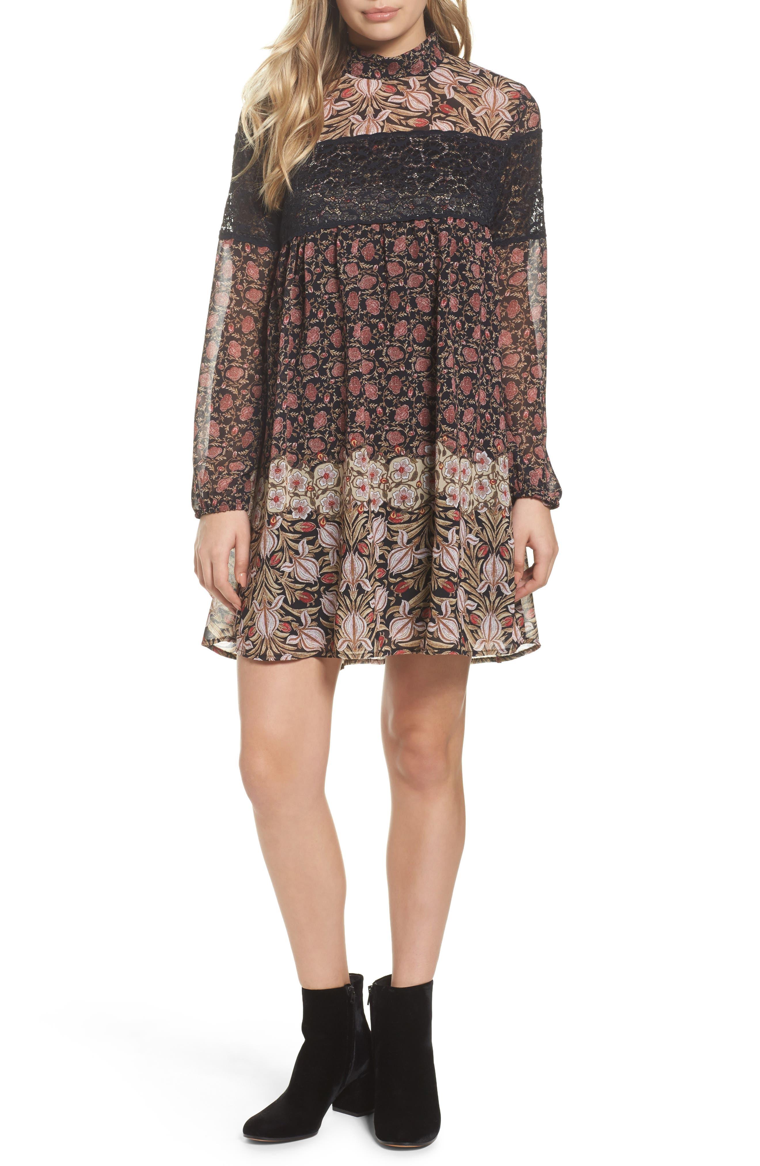 Mock Neck Shift Dress,                         Main,                         color, Contrast Floral