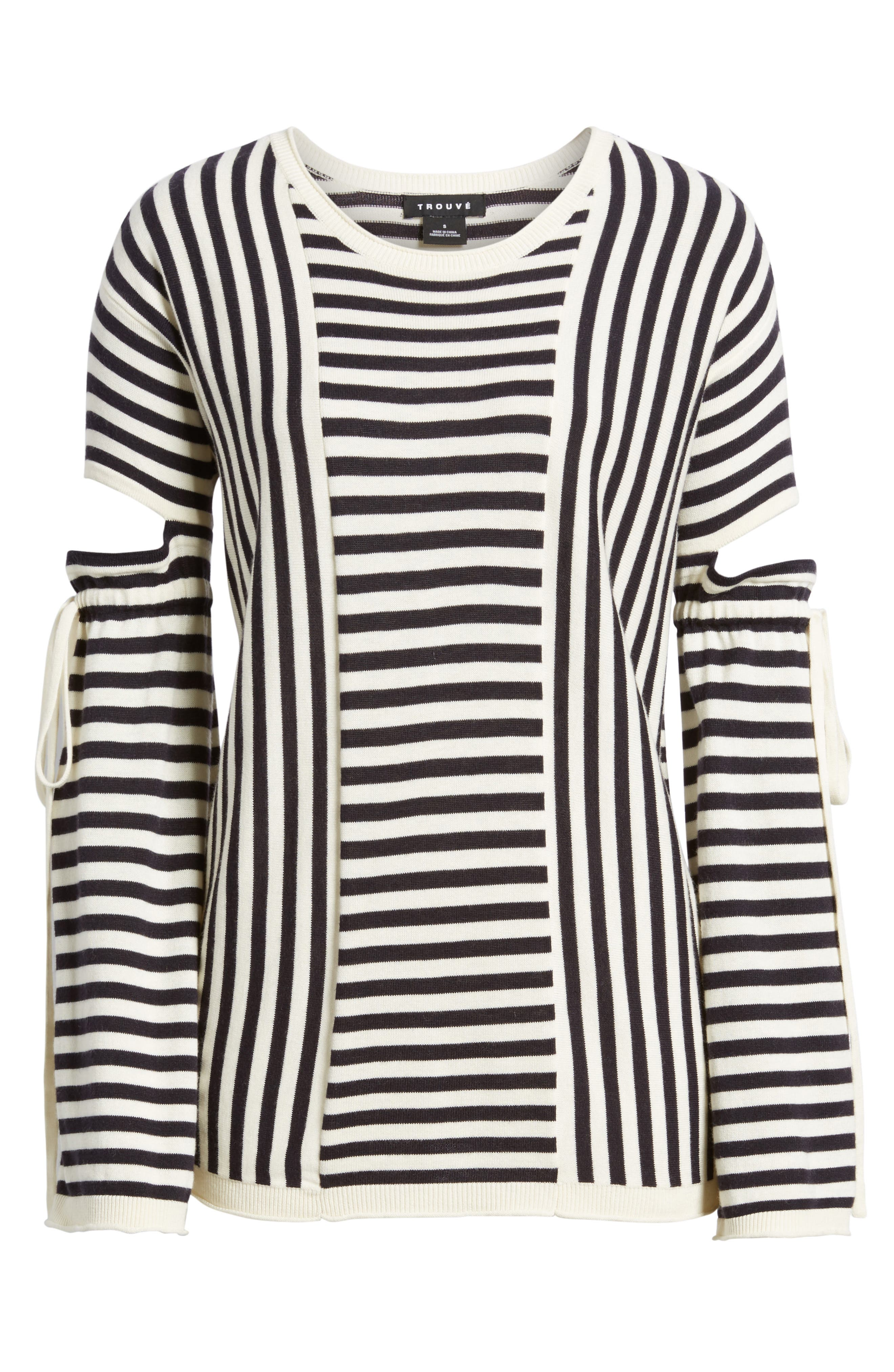 Stripe Cutout Sleeve Sweater,                             Alternate thumbnail 6, color,                             Navy Well- Ivory Stripe