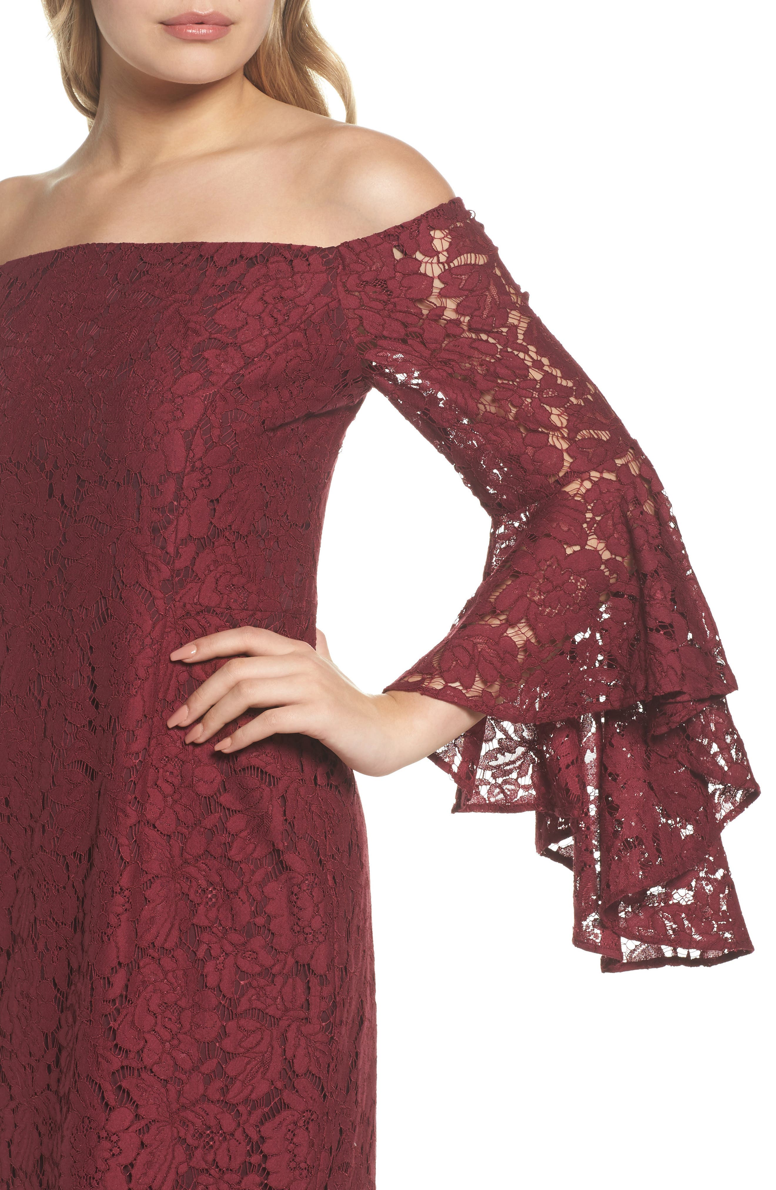 Off the Shoulder Lace Dress,                             Alternate thumbnail 4, color,                             Burgundy London