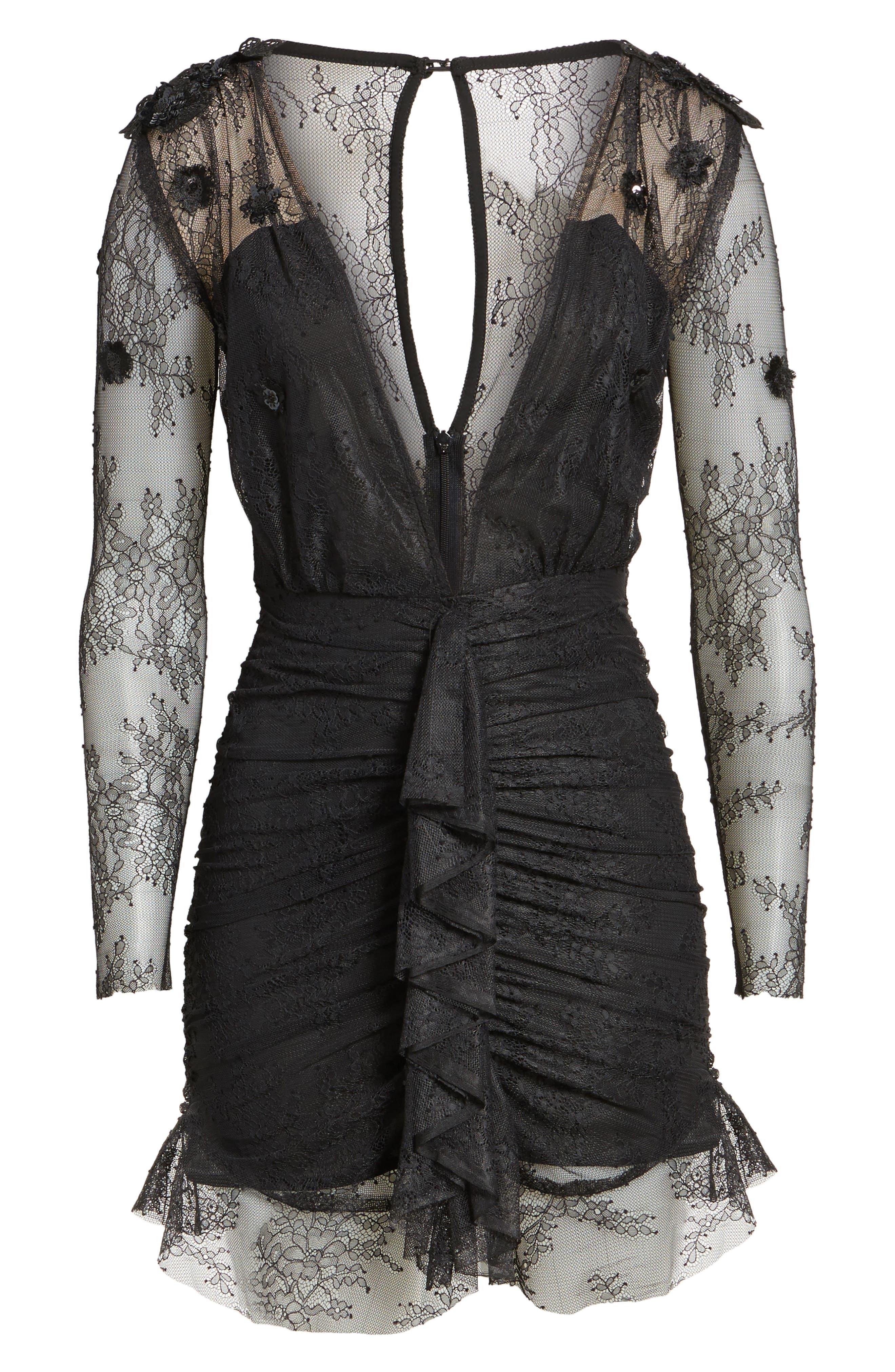 Daisy Lace Minidress,                             Alternate thumbnail 6, color,                             Black