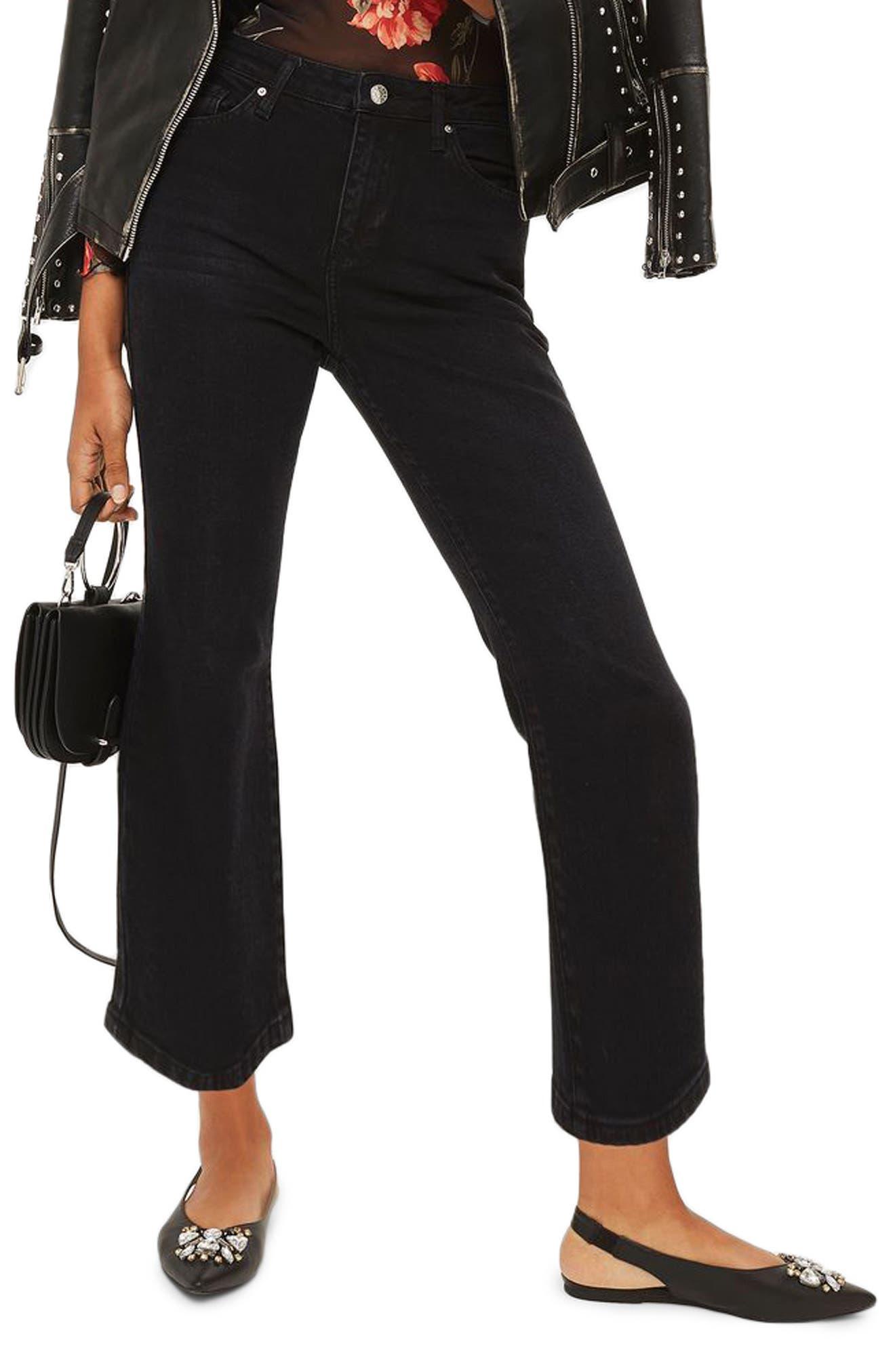Dree Crop Flare Jeans,                         Main,                         color, Washed Black