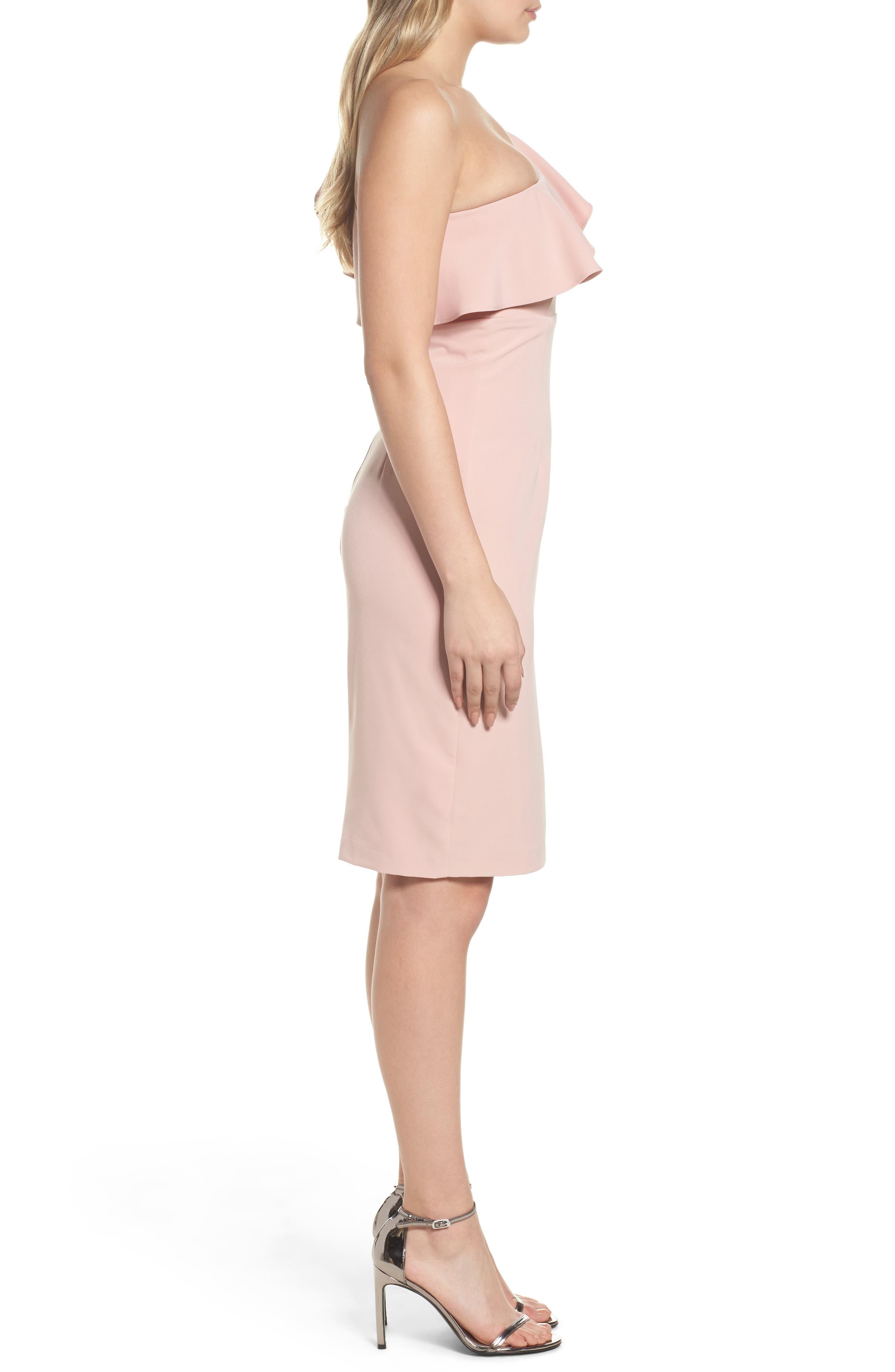 One-Shoulder Ruffle Sheath Dress,                             Alternate thumbnail 3, color,                             Pastel