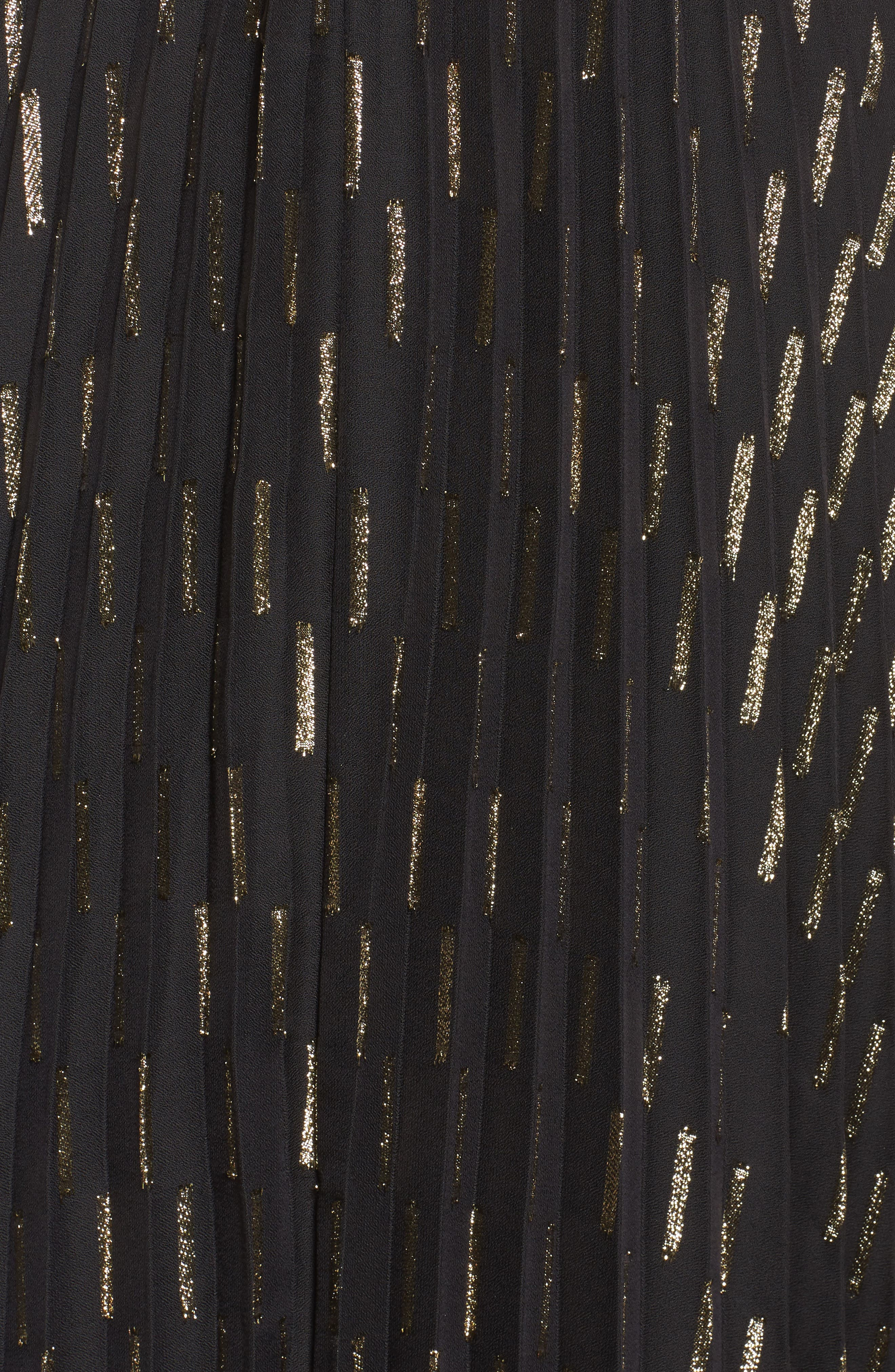 Metallic Detail Pleated Chiffon Maxi Skirt,                             Alternate thumbnail 7, color,                             Black Gold