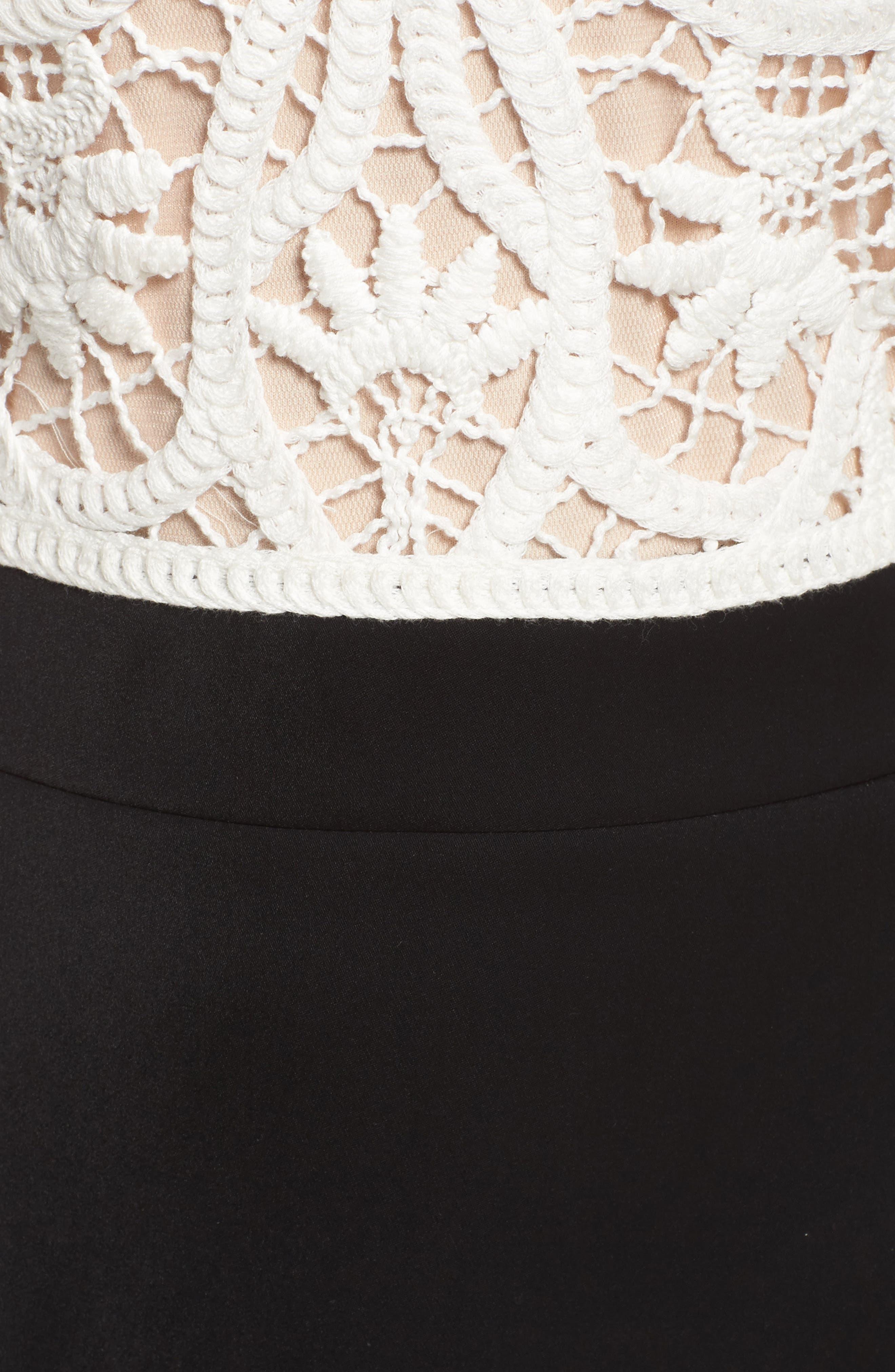 Crochet Lace & Crepe Gown,                             Alternate thumbnail 5, color,                             Ivory/ Black