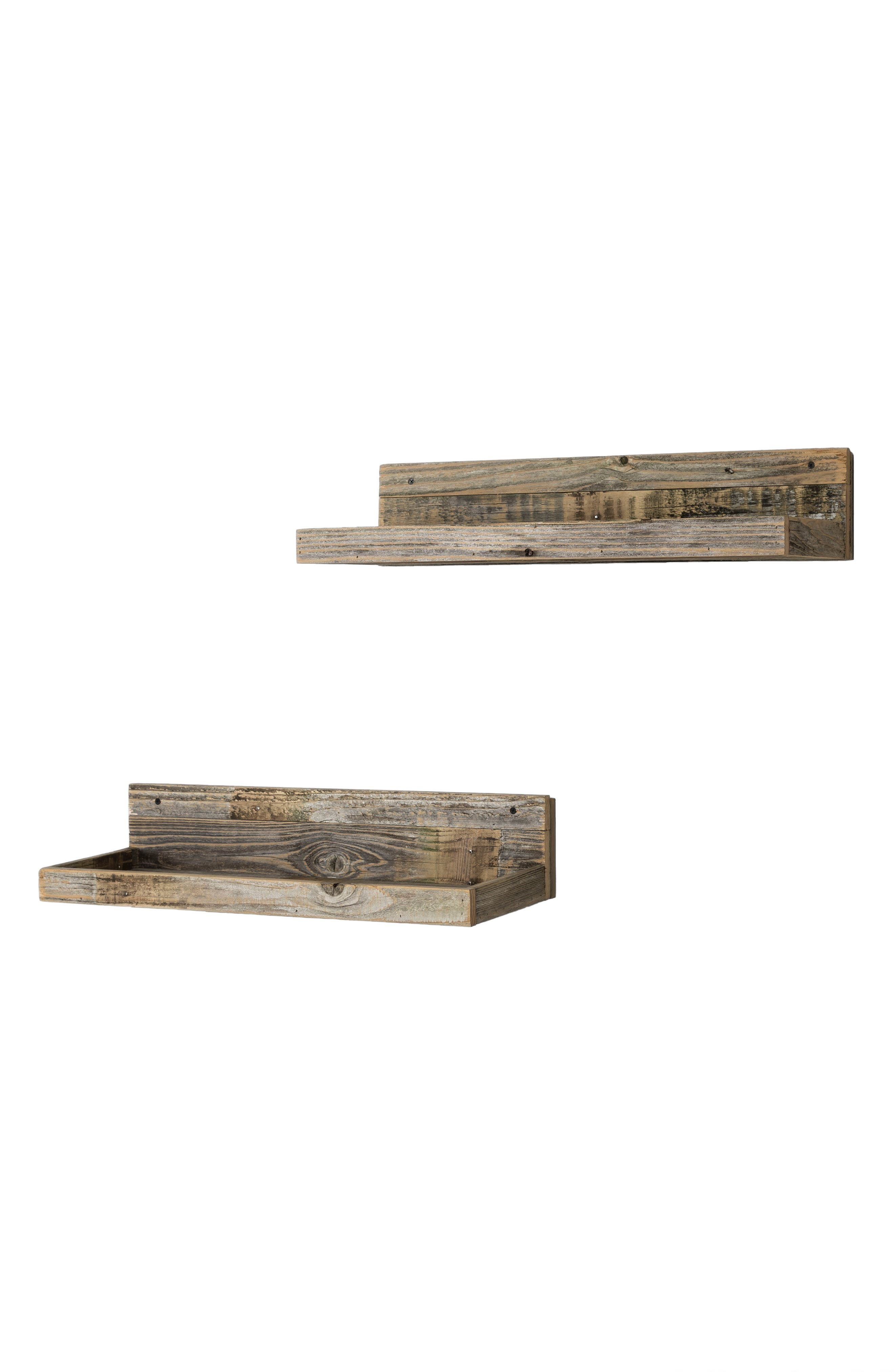 Set of 2 Floating Reclaimed Barnwood Shelves,                             Alternate thumbnail 2, color,                             Natural