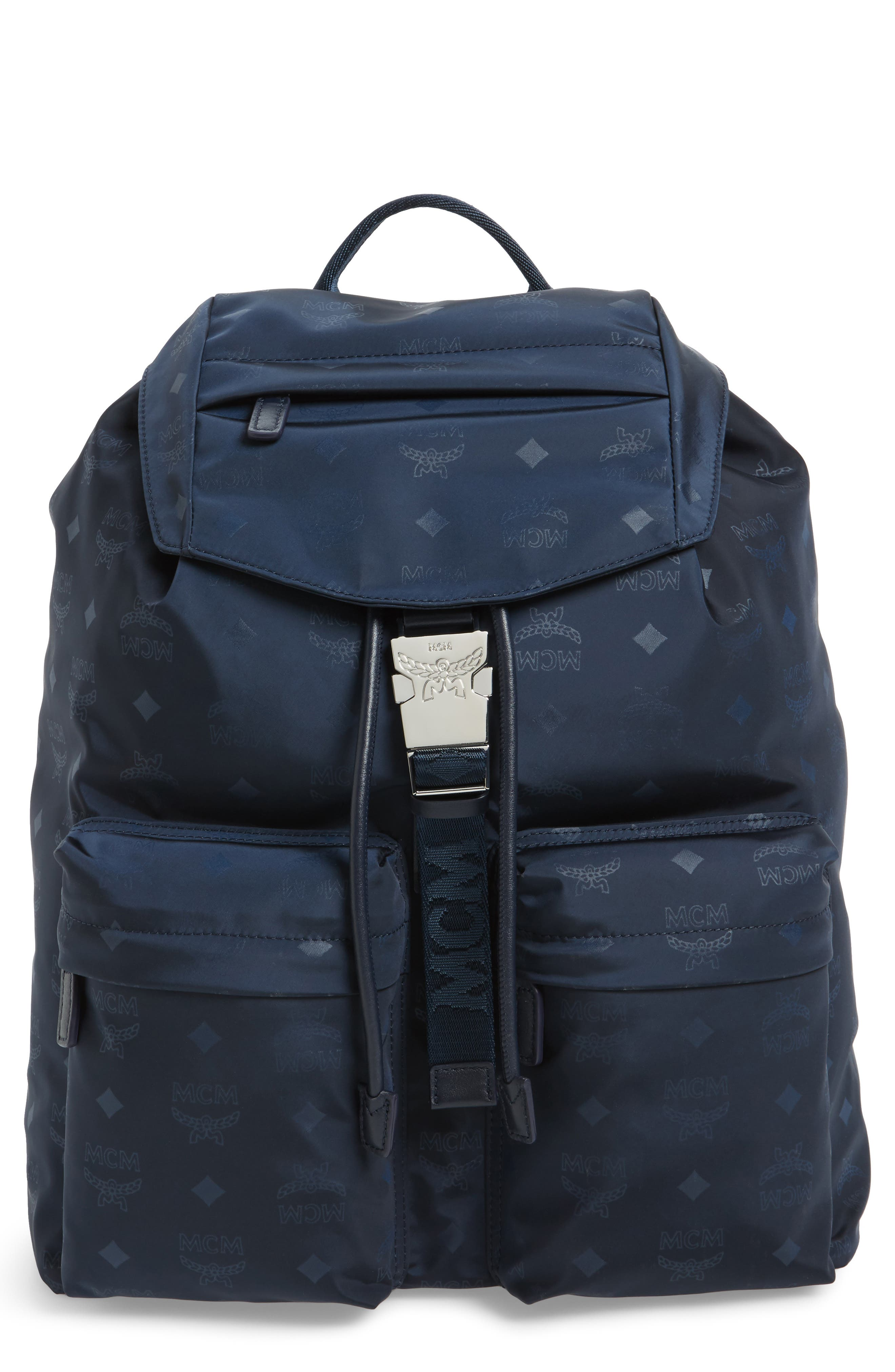 MCM Small Dieter Monogrammed Nylon Backpack
