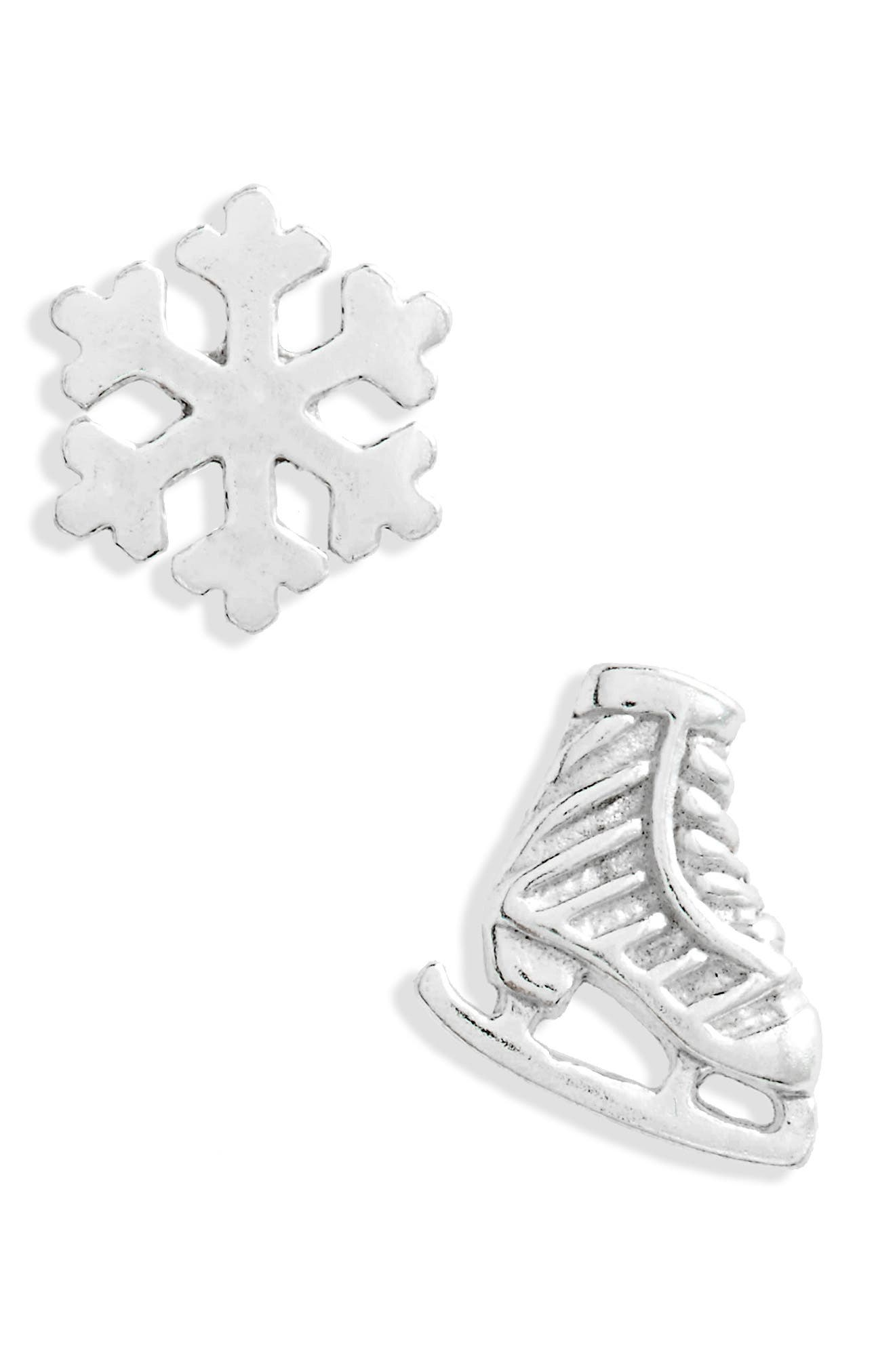 Tomas Snowflake & Skate Sterling Silver Earrings (Girls)