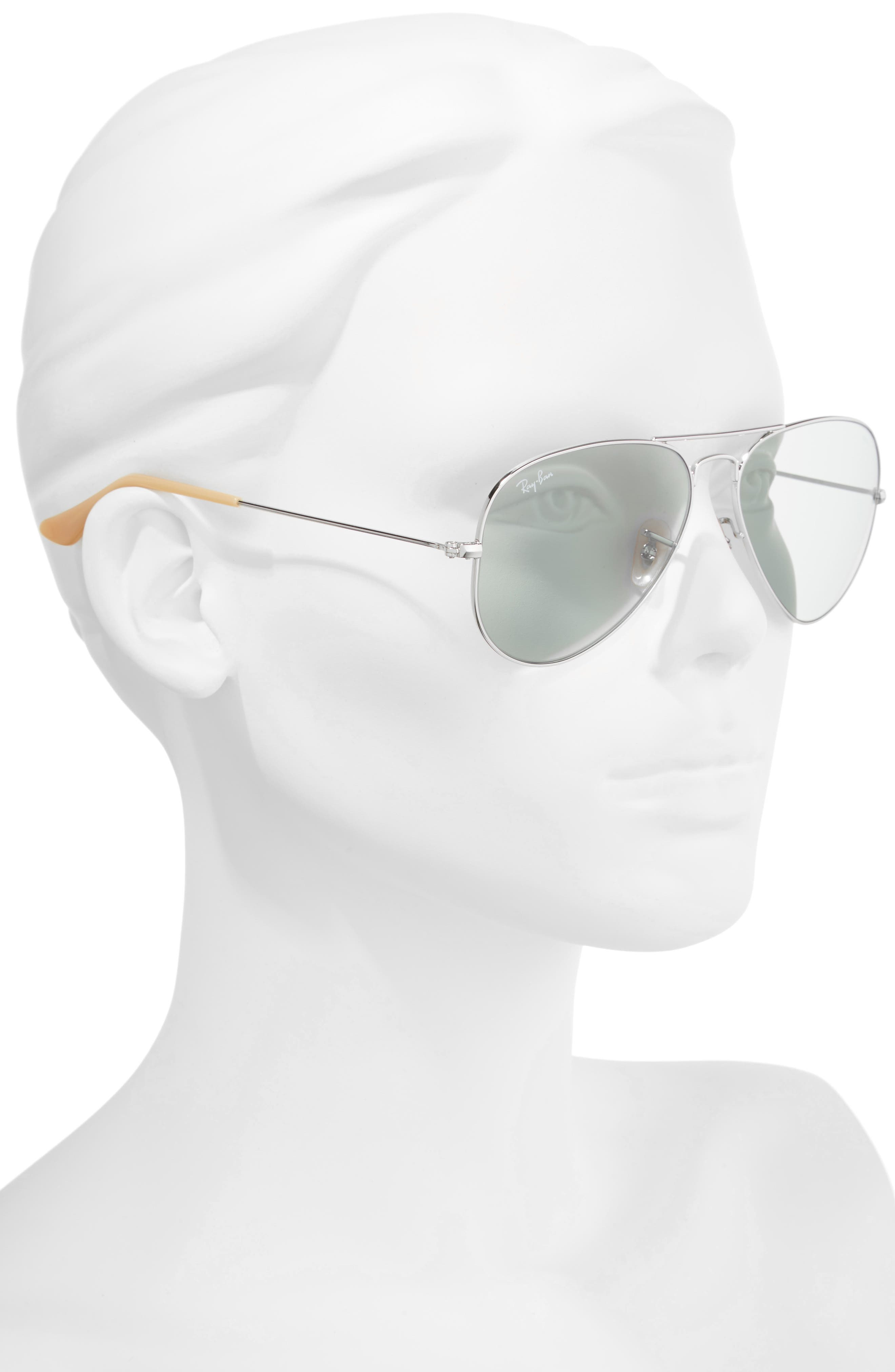 58mm Photochromic Aviator Sunglasses,                             Alternate thumbnail 2, color,                             Silver Blue