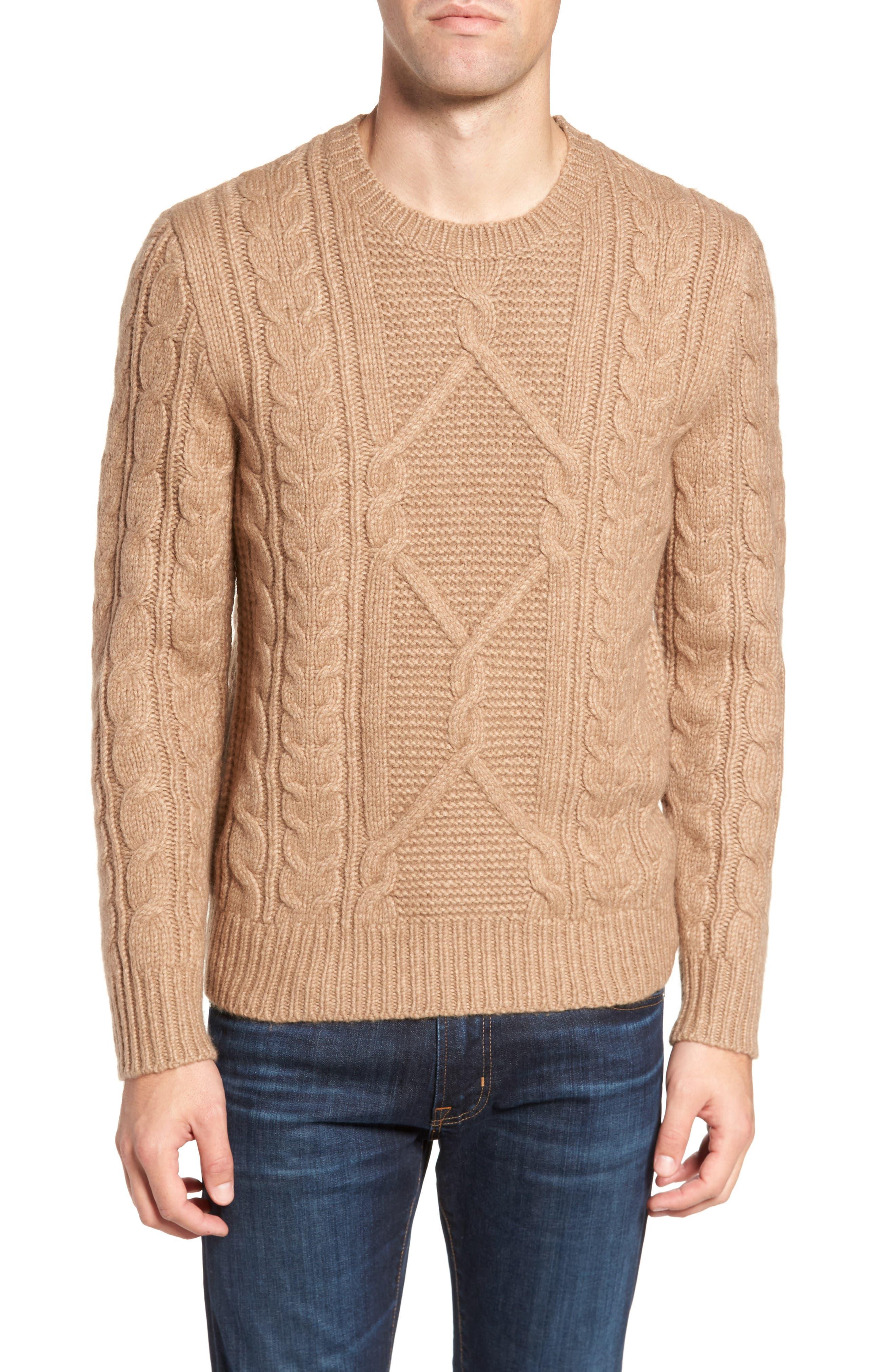 Cable Knit Crewneck Sweater,                             Main thumbnail 1, color,                             Camel