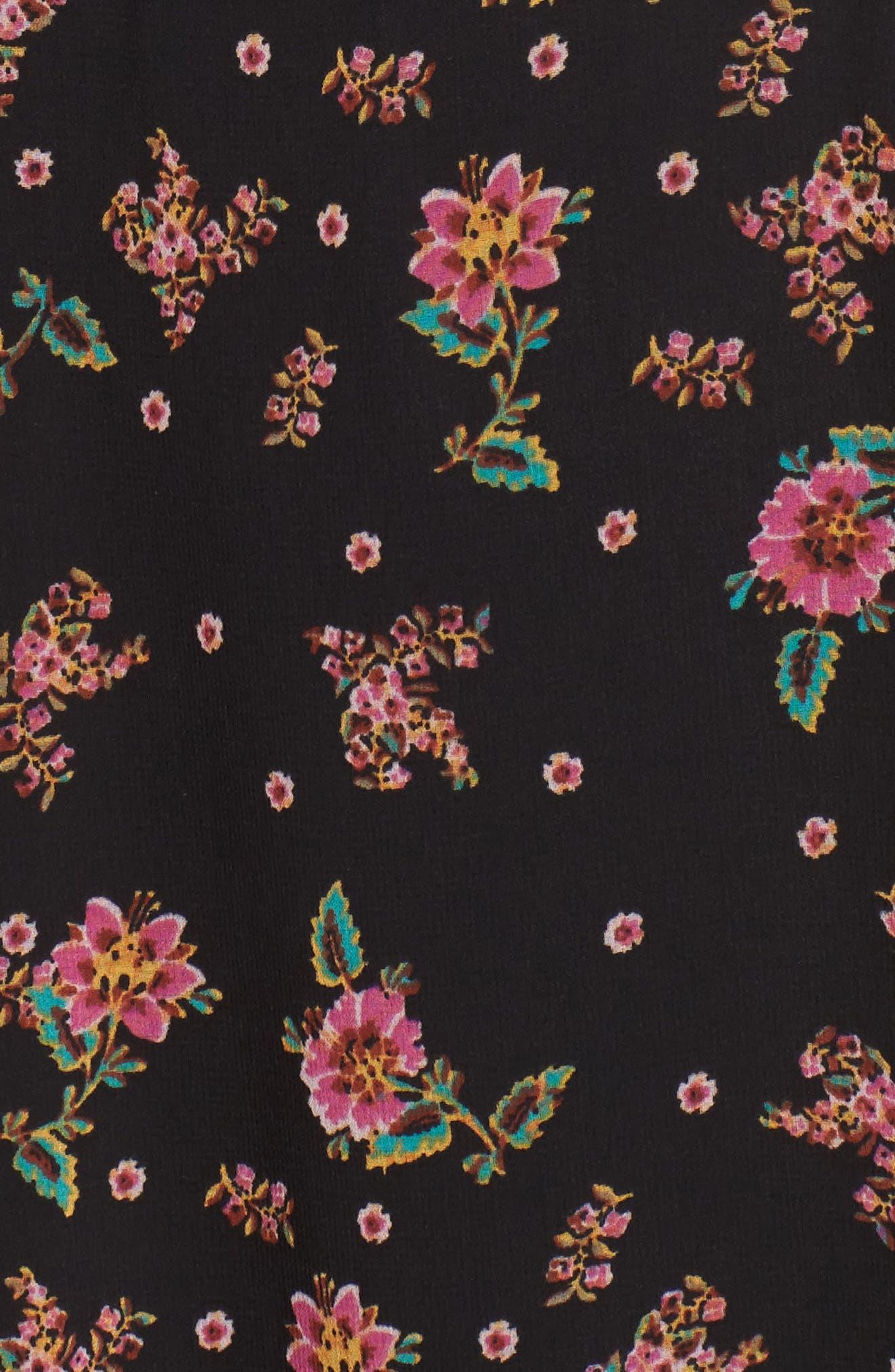 Harvey Midi Dress,                             Alternate thumbnail 5, color,                             Black Multi