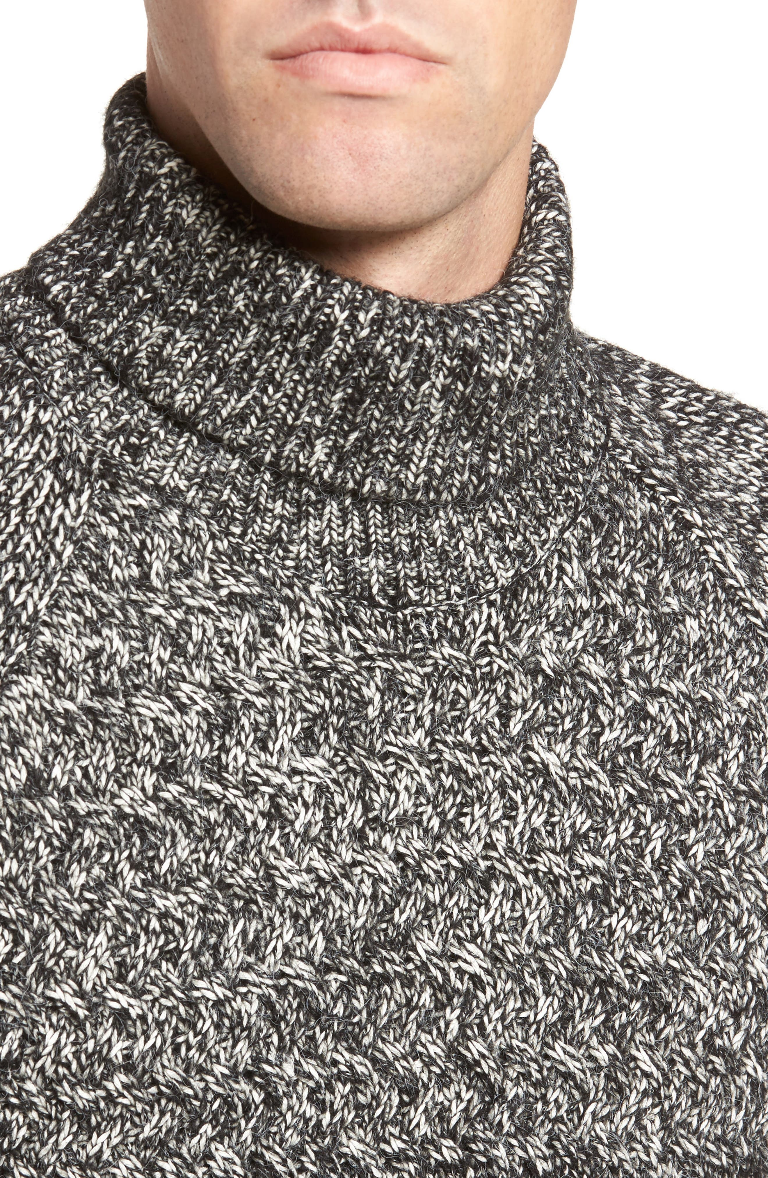 Alternate Image 4  - French Connection Marled Cable Knit Turtleneck Sweater