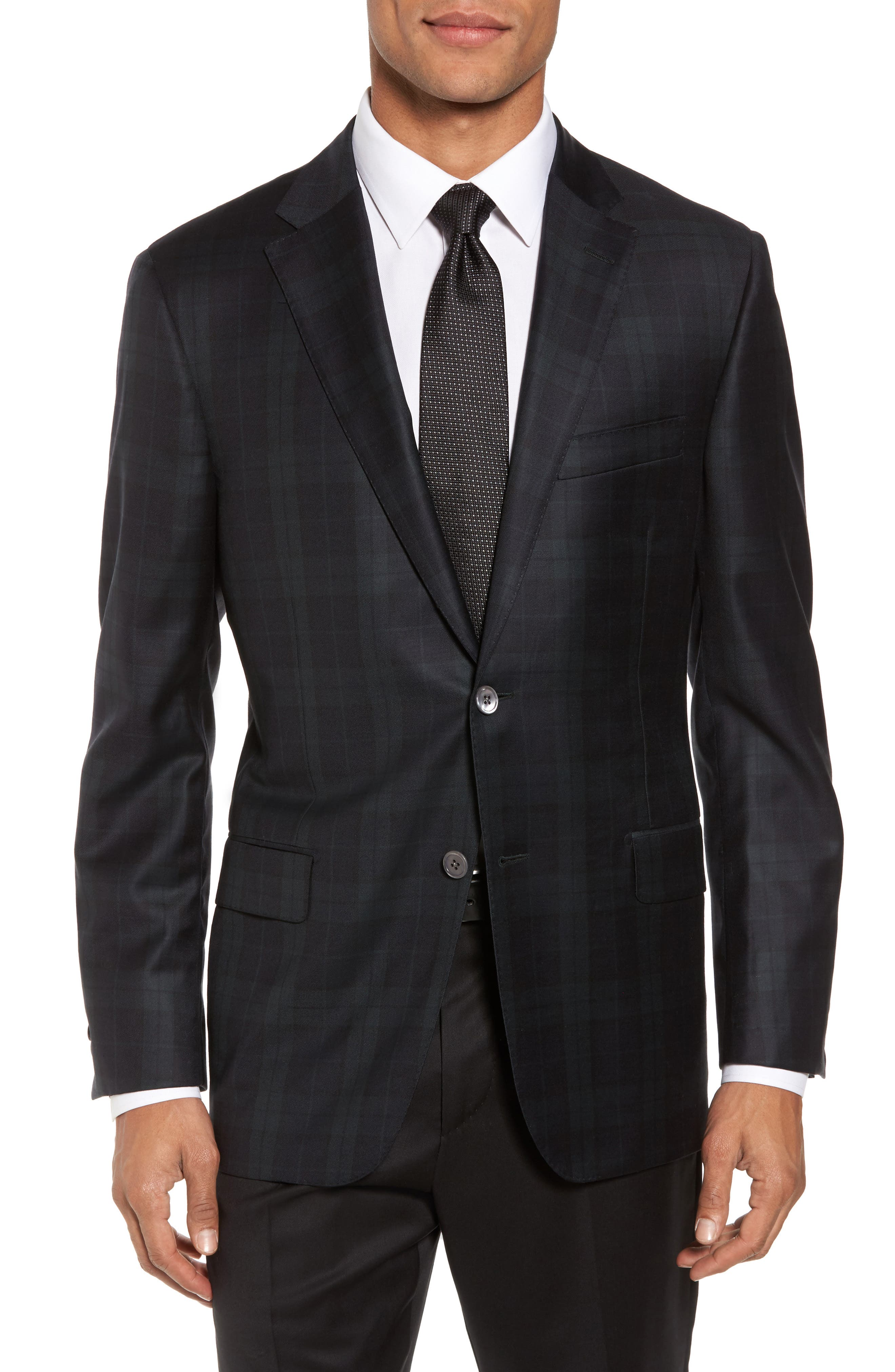 HICKEY FREEMAN Classic B Fit Plaid Wool Dinner Jacket in Navy Watch Plaid