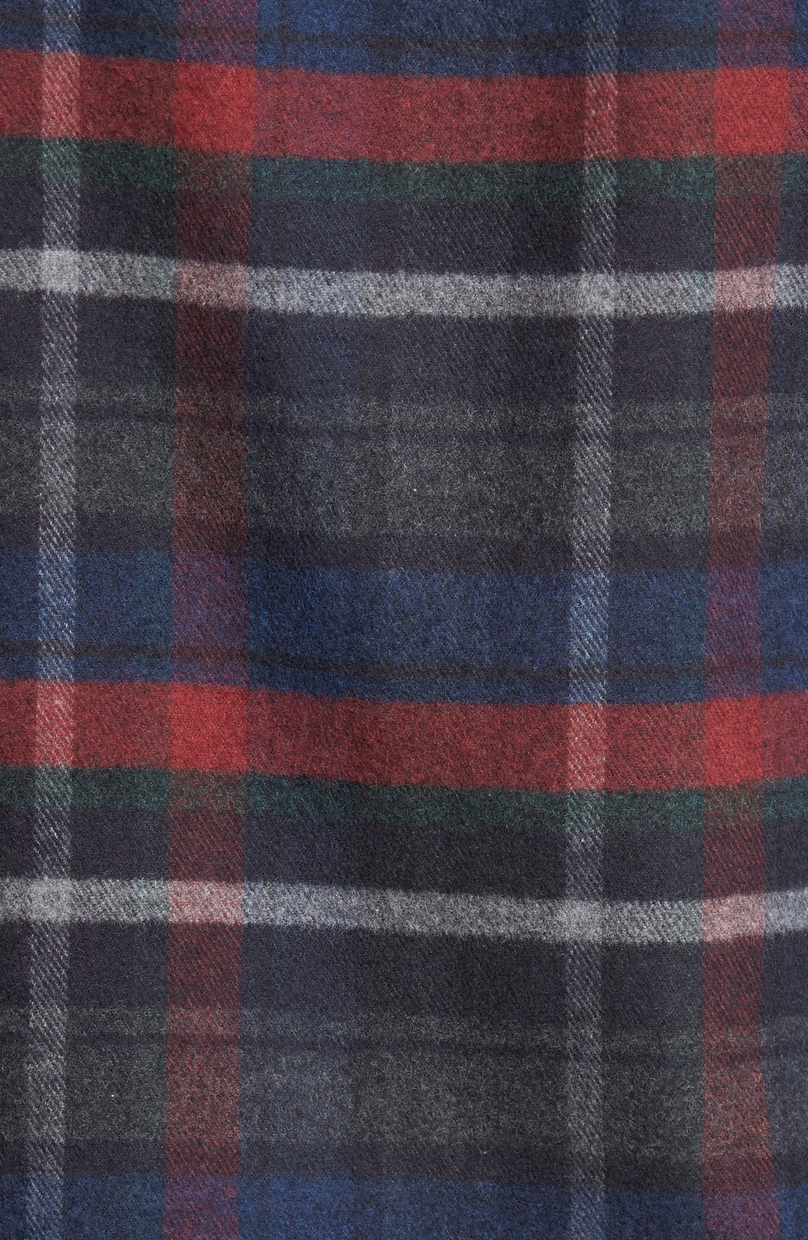 Plaid Flannel Sport Shirt,                             Alternate thumbnail 5, color,                             Charcoal