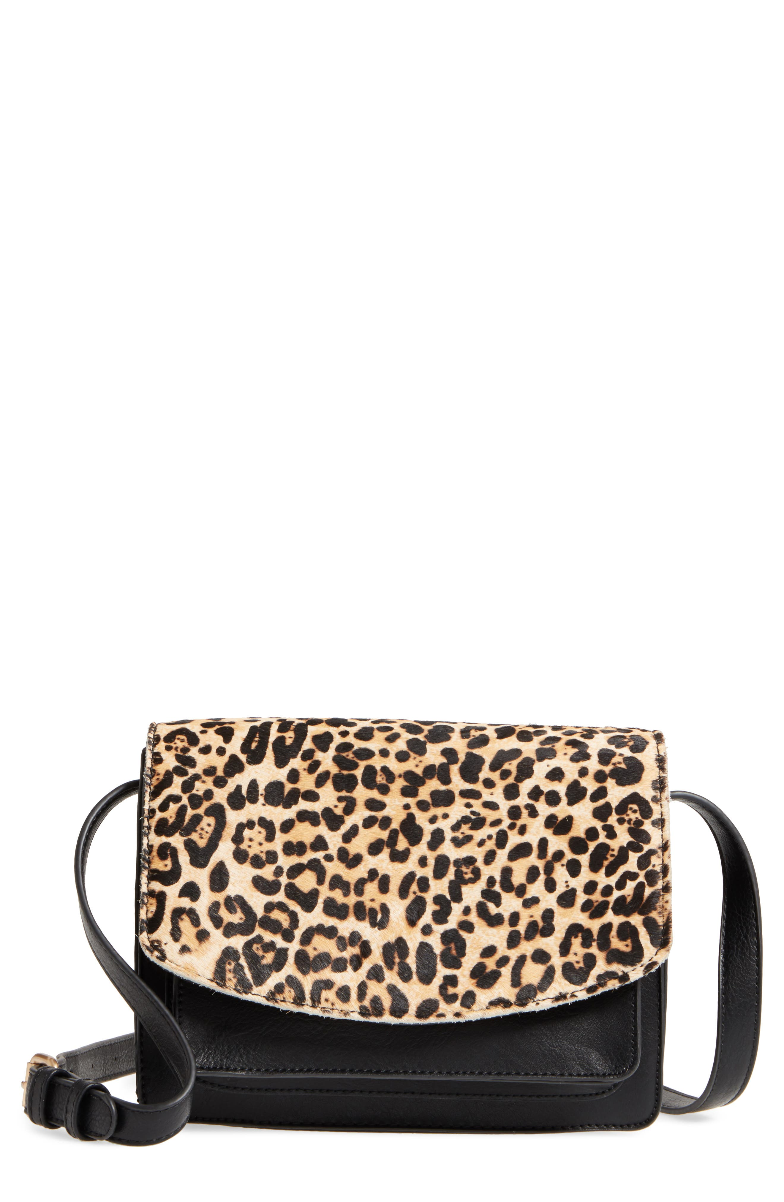 Main Image - Sole Society Michelle Genuine Calf Hair Flap Crossbody Bag