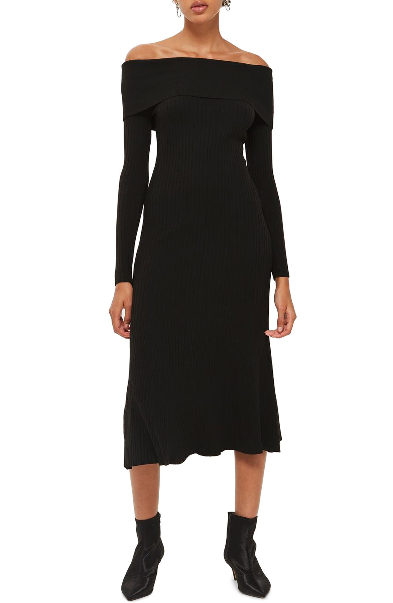 Wide Rib Off the Shoulder Dress,                             Main thumbnail 1, color,                             Black