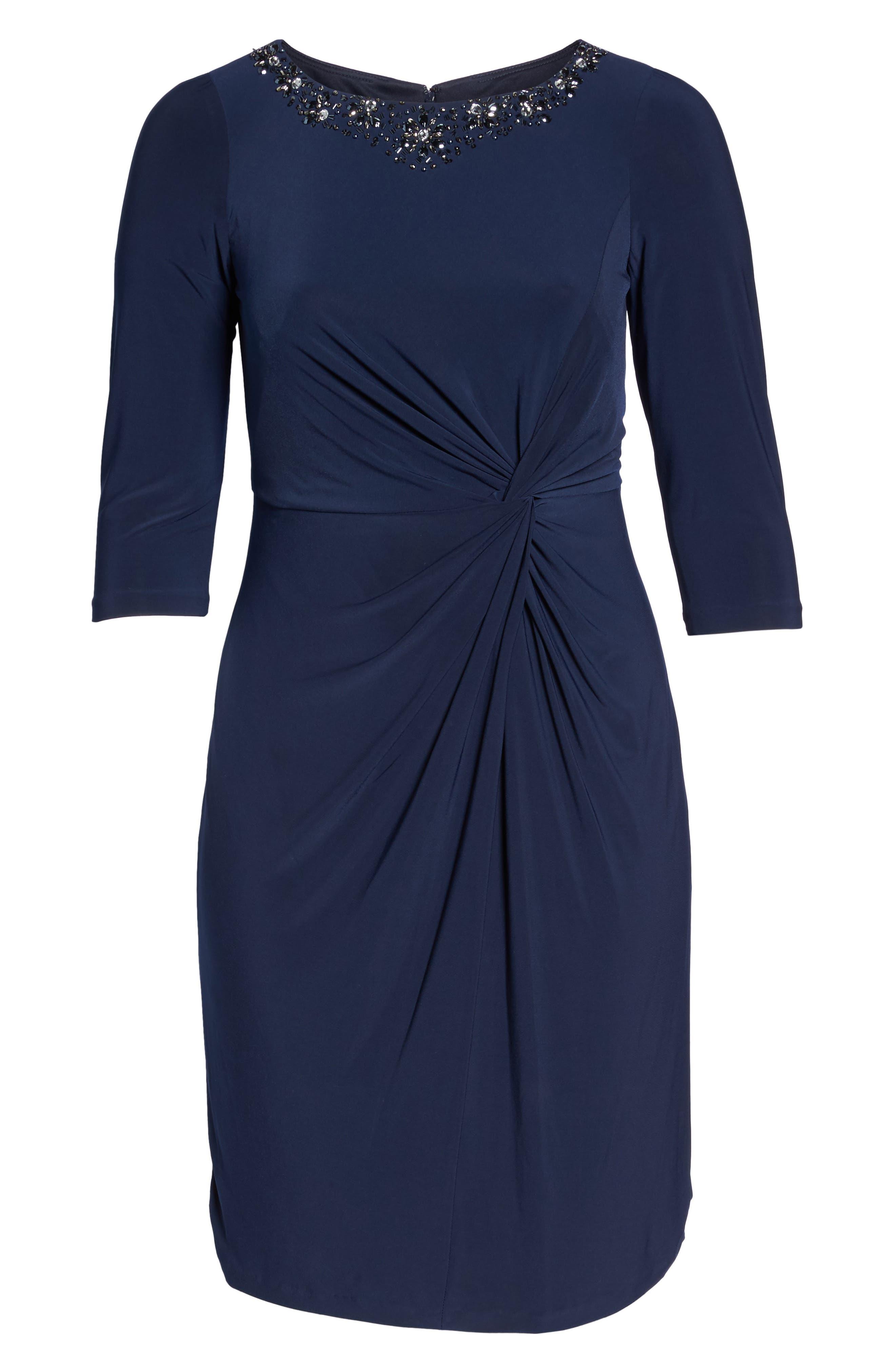 Alternate Image 6  - Alex Evenings Jewel Neck Twist Front Shift Dress (Plus Size)