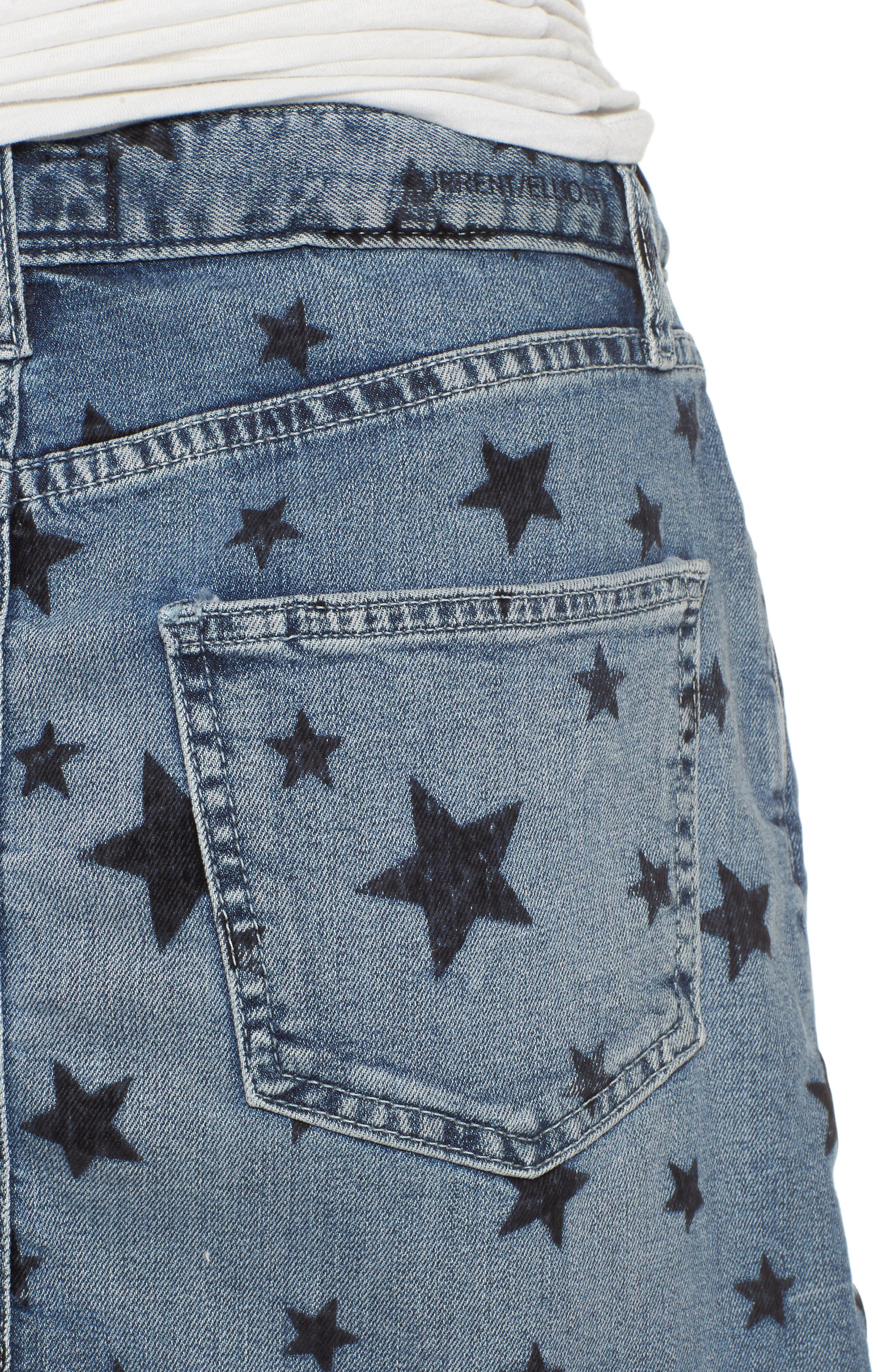 The Cut Off Miniskirt,                             Alternate thumbnail 4, color,                             Flocked Star