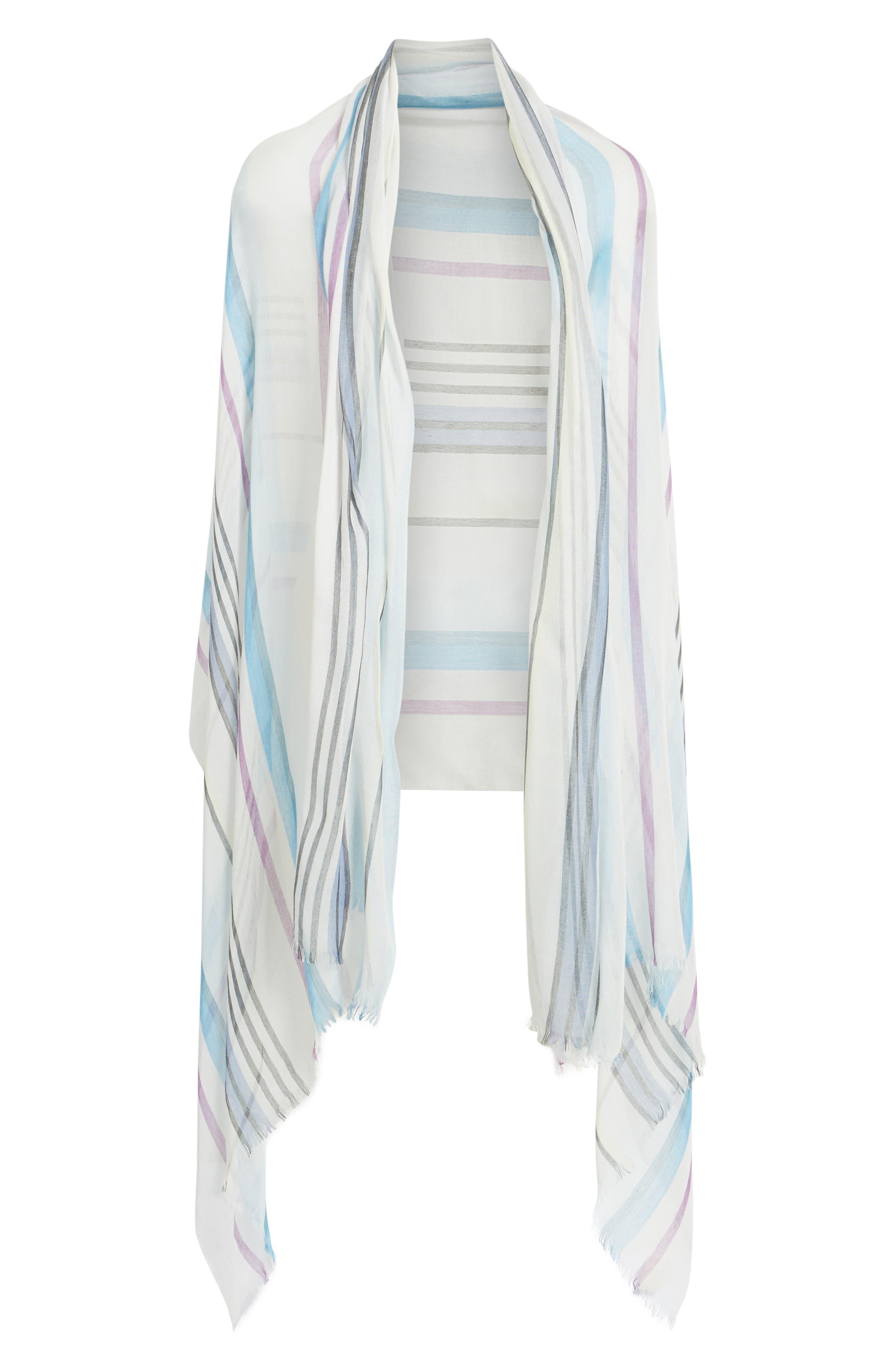 Yarn Dyed Stripe Wrap,                             Alternate thumbnail 2, color,                             Blue Combo Fresh Stripes
