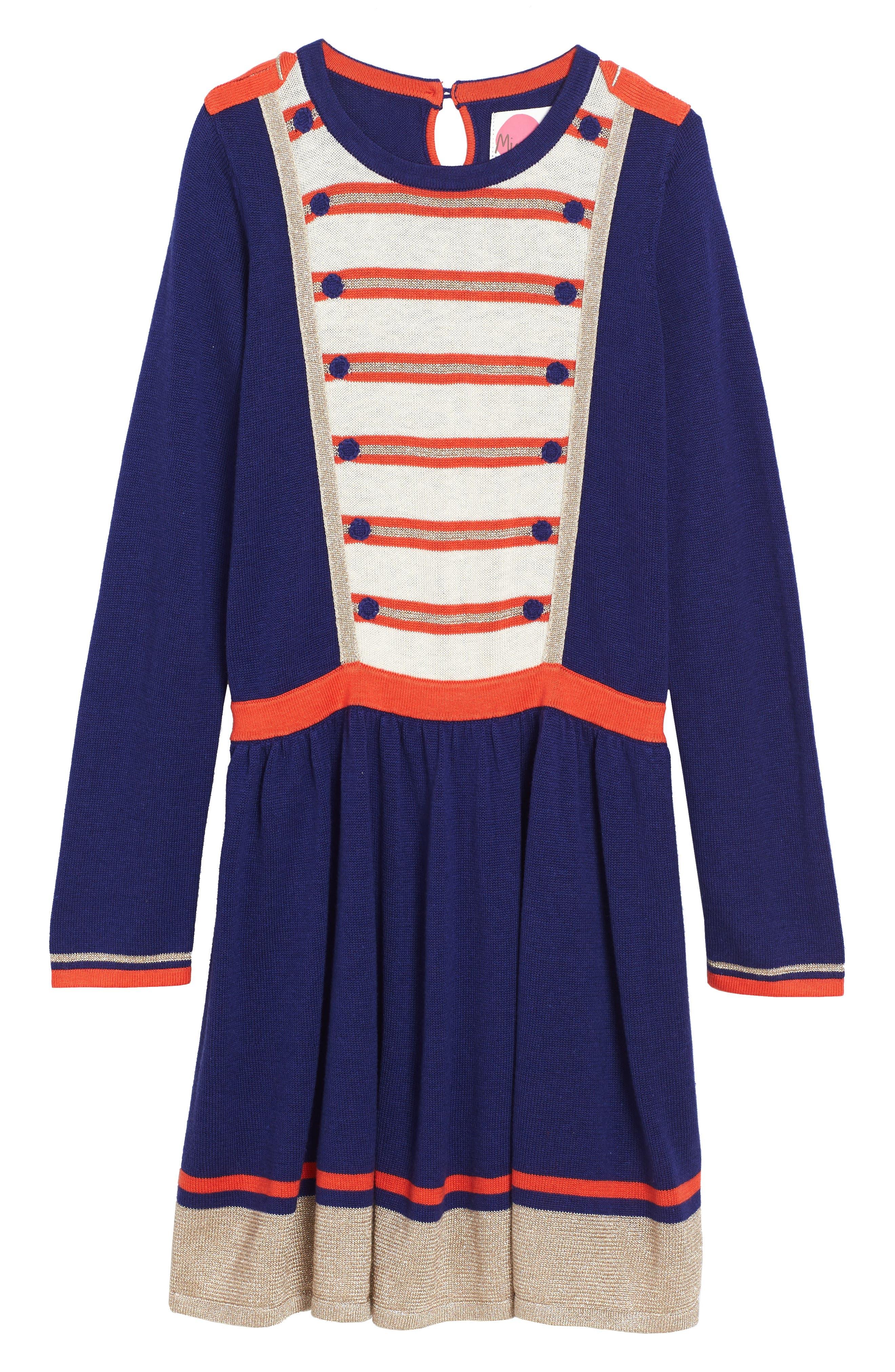 Sparkly Intarsia Knit Dress,                             Main thumbnail 1, color,                             Dark Blue