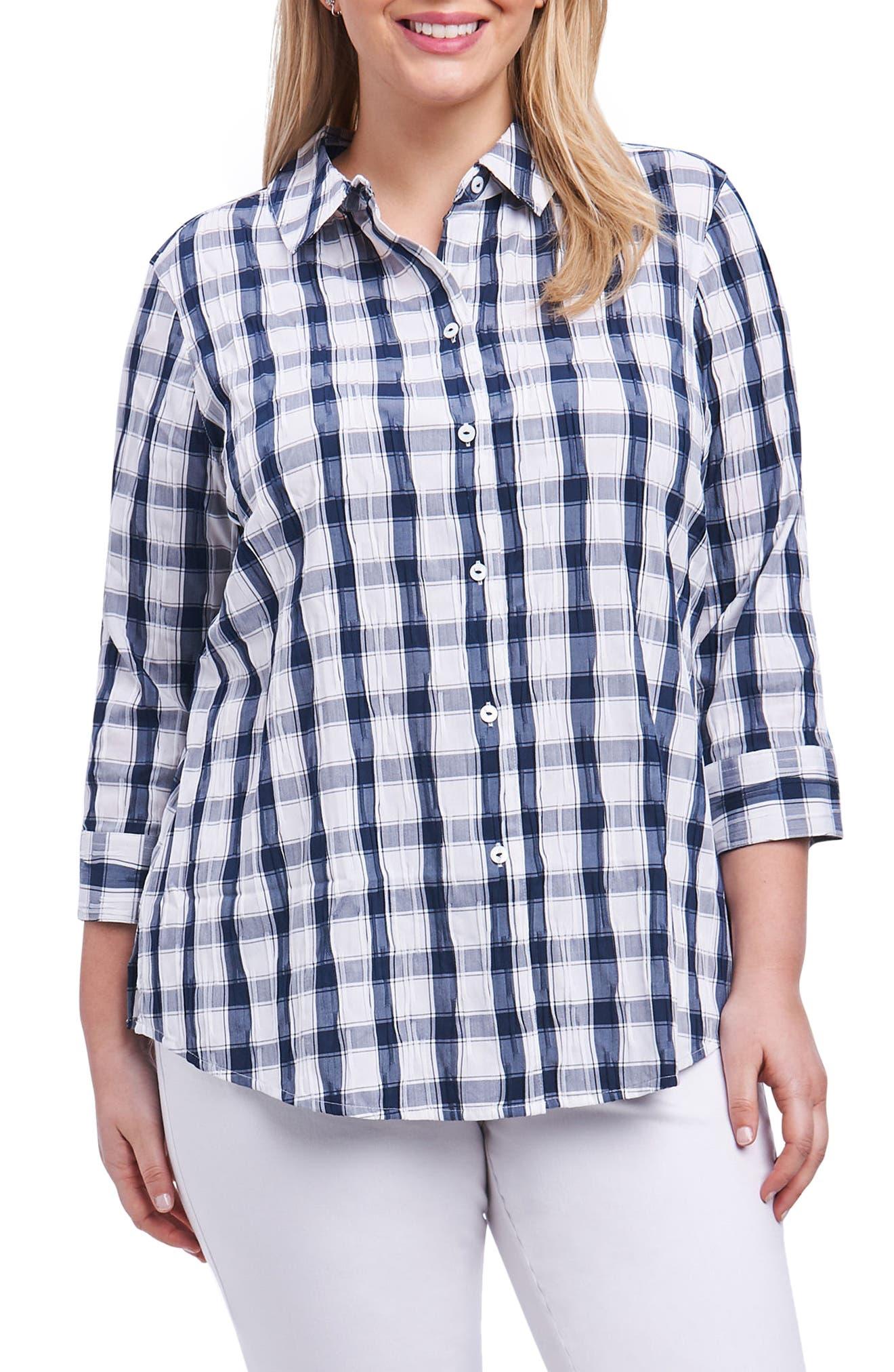 Foxcroft Sue Shaped Fit Crinkle Plaid Shirt (Plus Size)