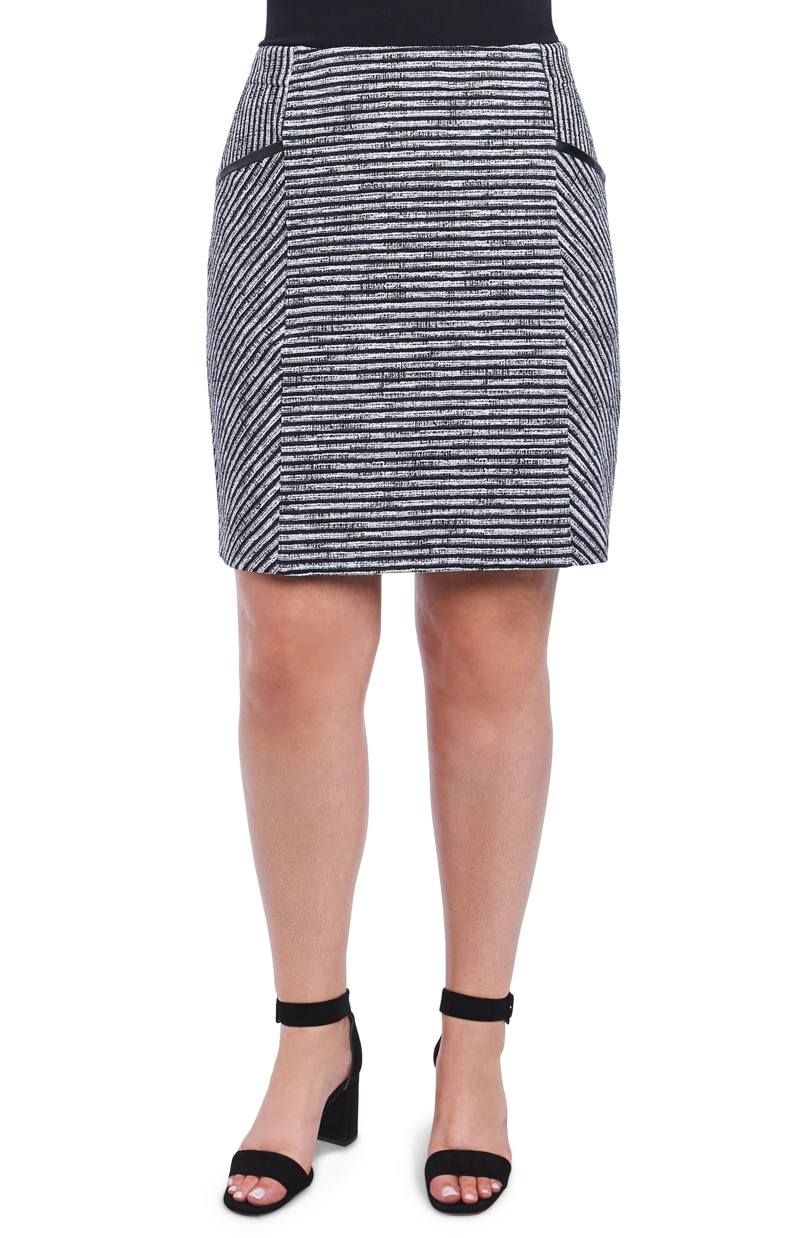 Jemma Stripe Knit Skirt,                             Main thumbnail 1, color,                             Ivory/ Black