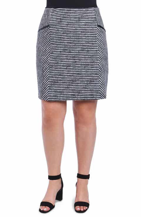 Foxcroft Jemma Stripe Knit Skirt (Plus Size)