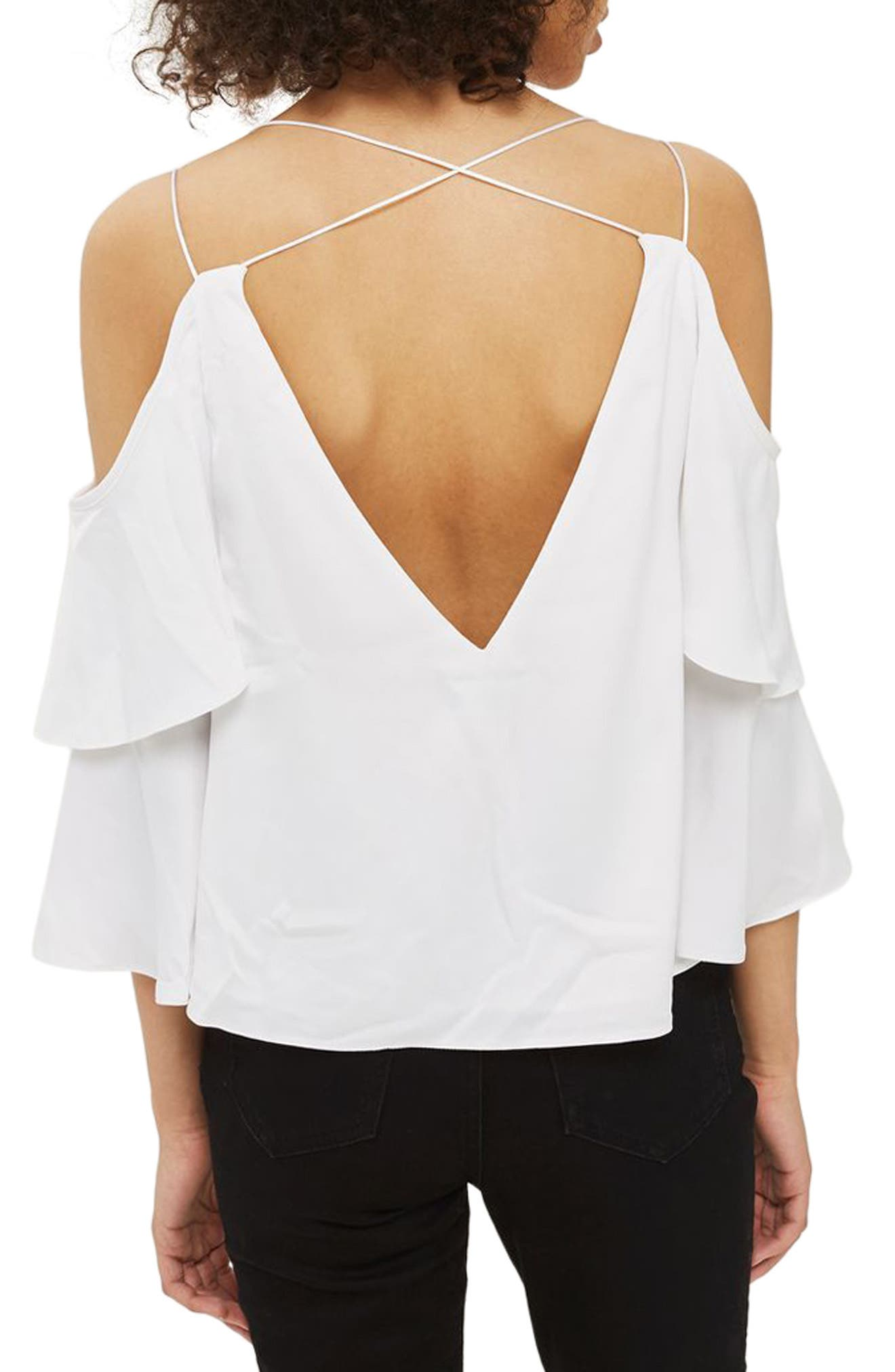 Alternate Image 3  - Topshop Double Sleeve Lace Camisole Top