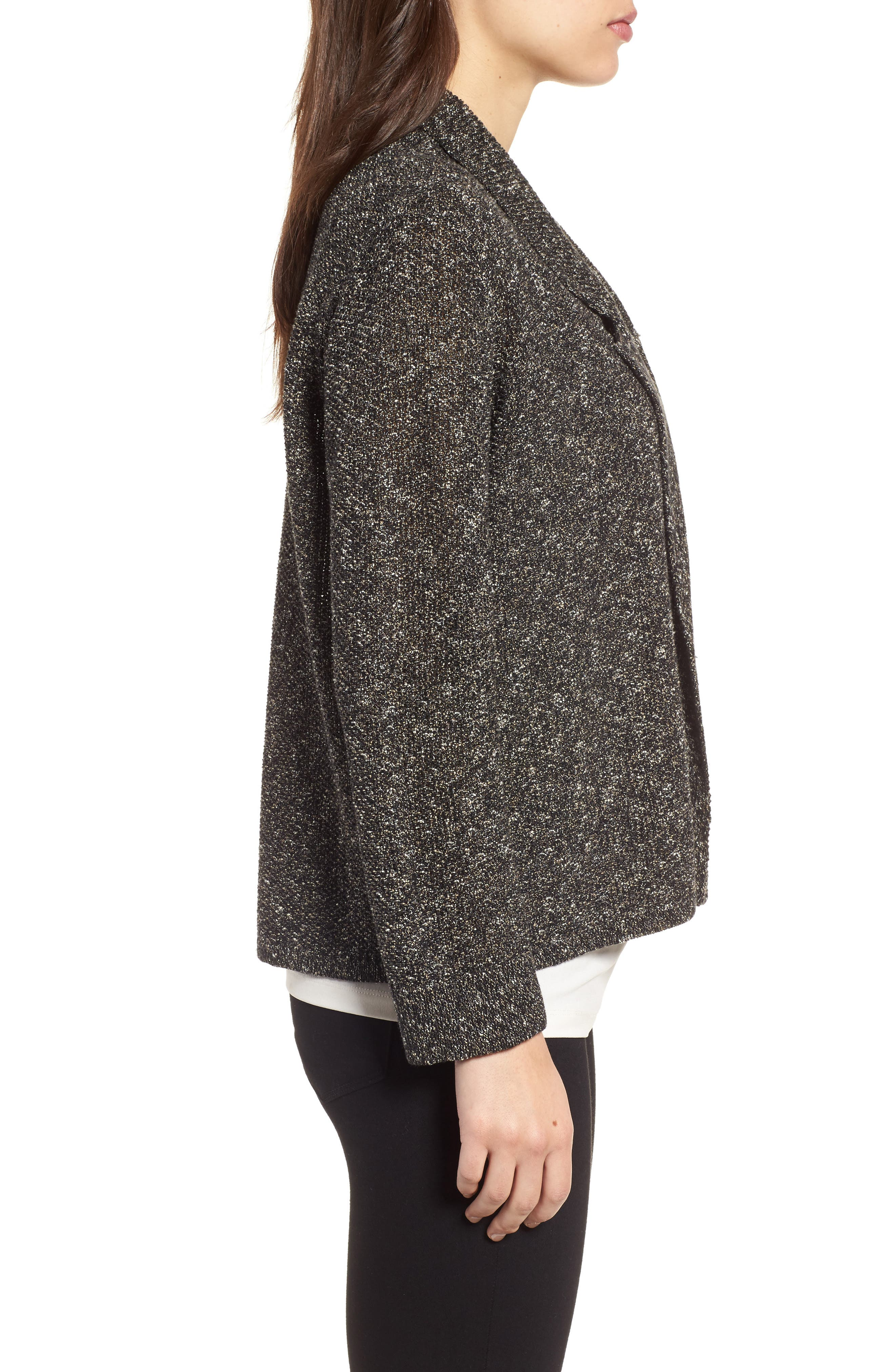 Tweed Sweater Jacket,                             Alternate thumbnail 3, color,                             Black