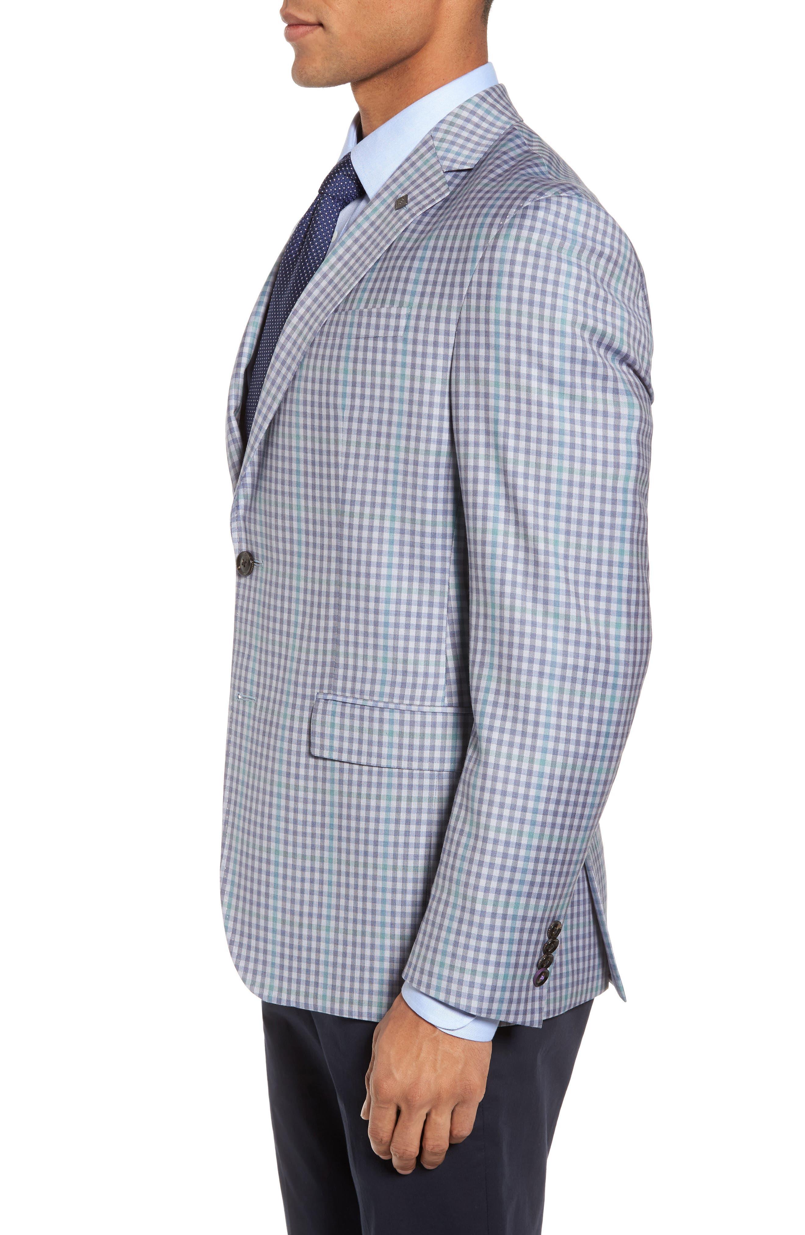 Konan Trim Fit Check Wool Sport Coat,                             Alternate thumbnail 3, color,                             Blue Grey Green Ck