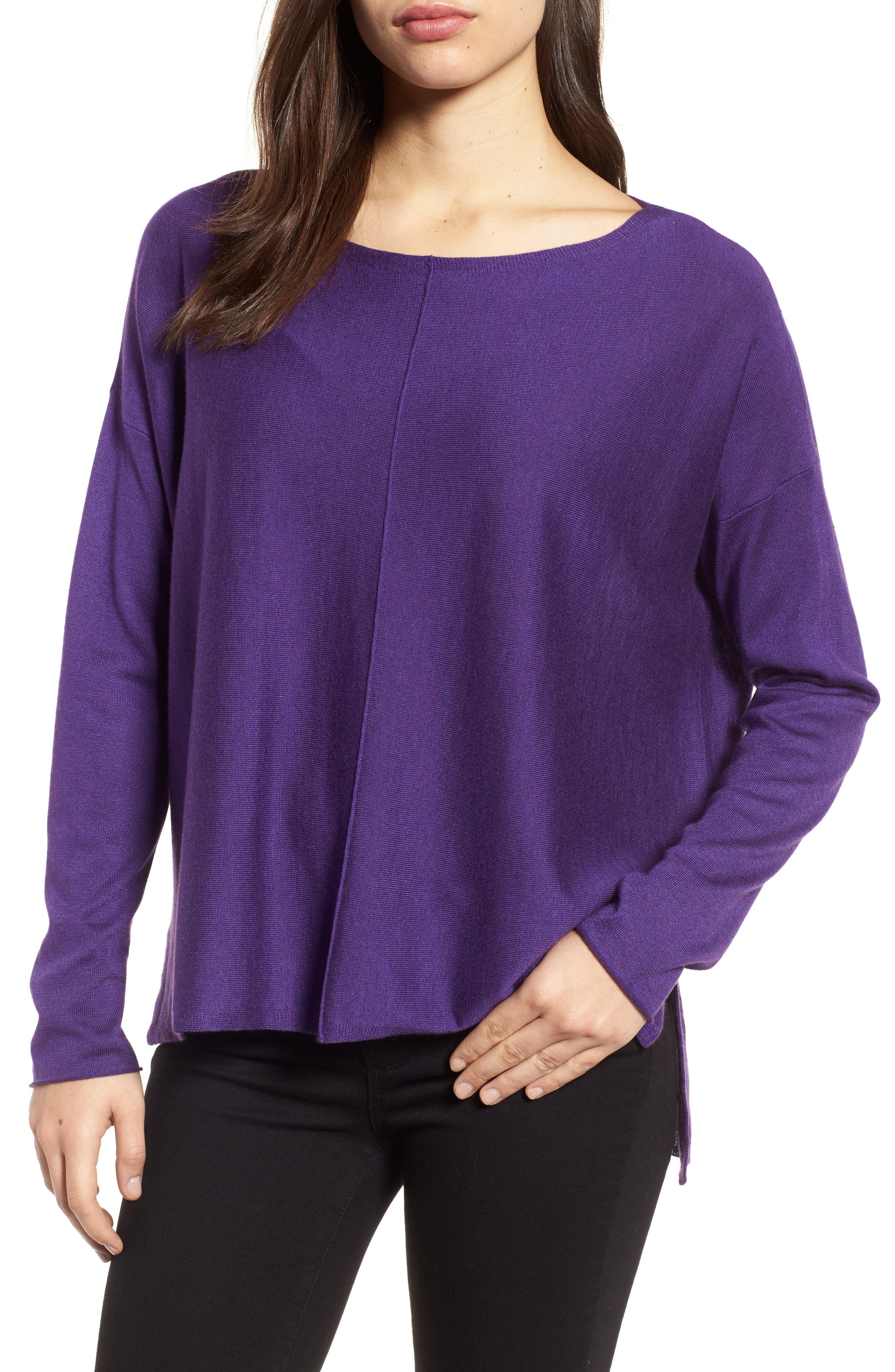 Tencel<sup>®</sup> Lyocell Blend High/Low Sweater,                             Main thumbnail 1, color,                             Ultraviolet