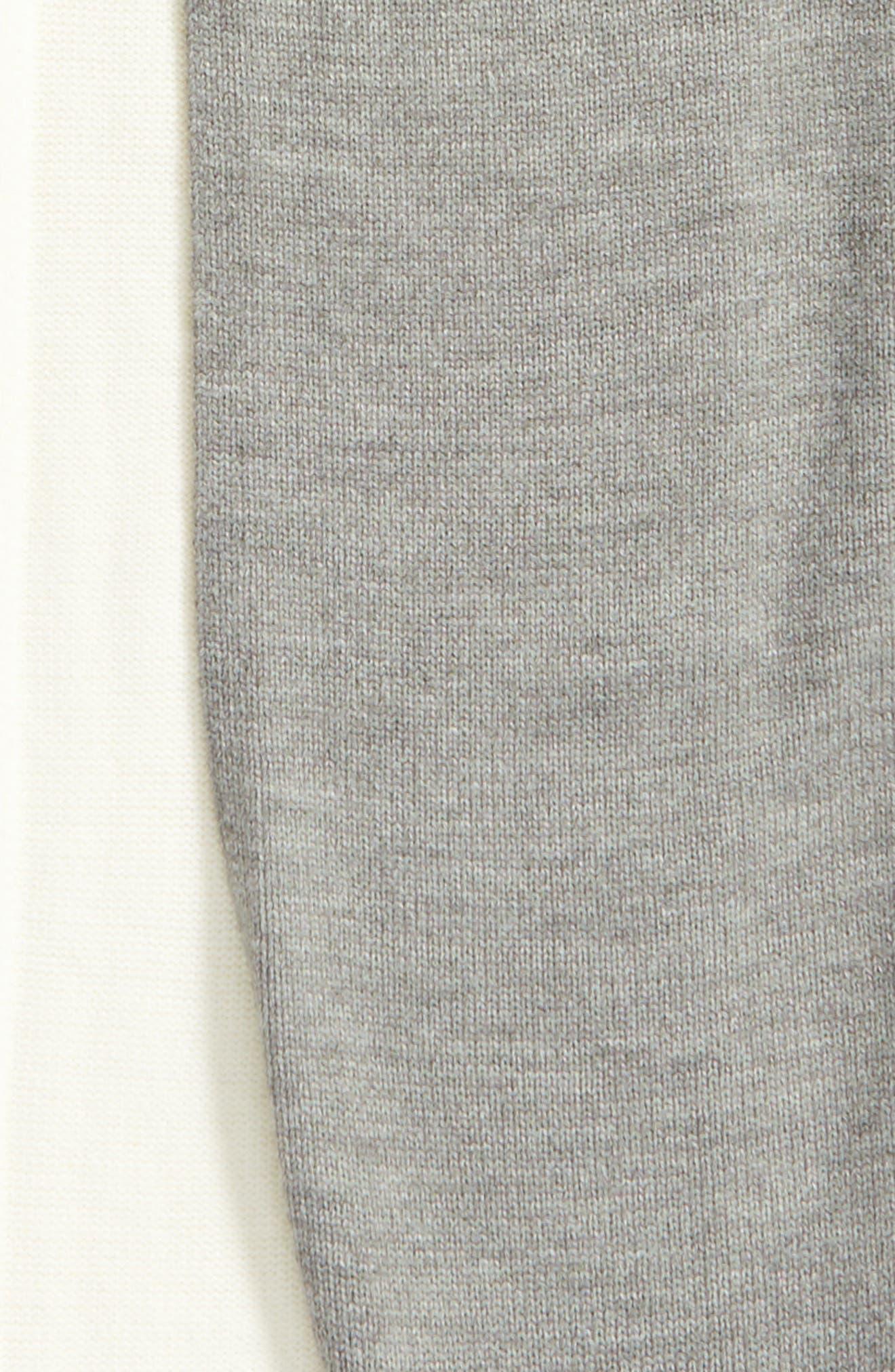 colorblock pom muffler,                             Alternate thumbnail 4, color,                             Cream/ Grey Melange