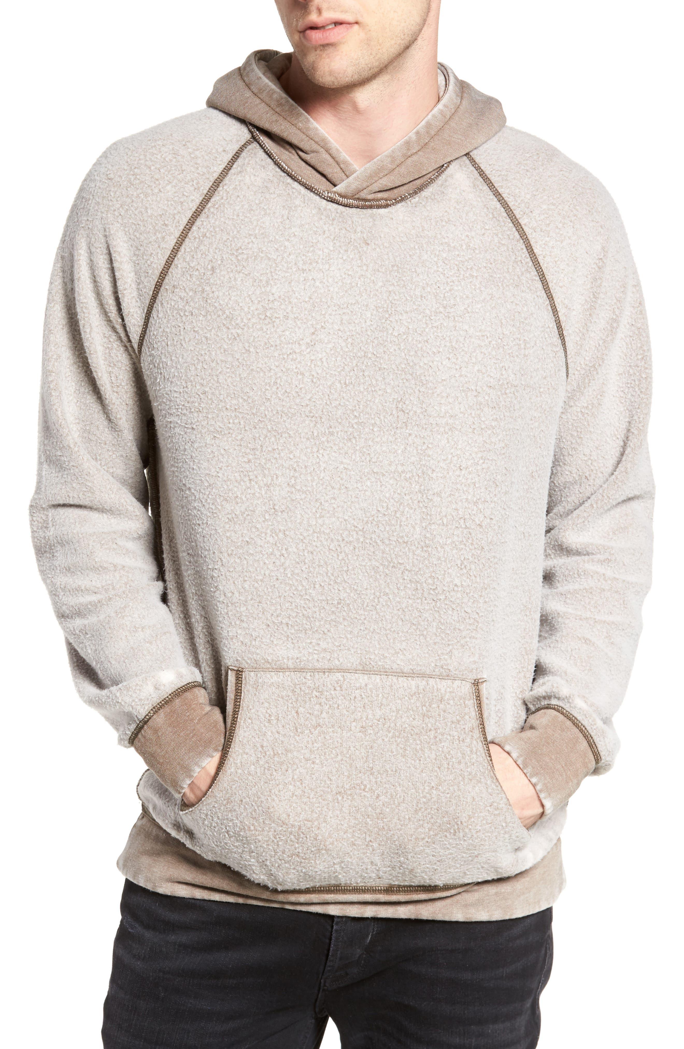 Reverse Fleece Hoodie,                         Main,                         color, Tan Portabella