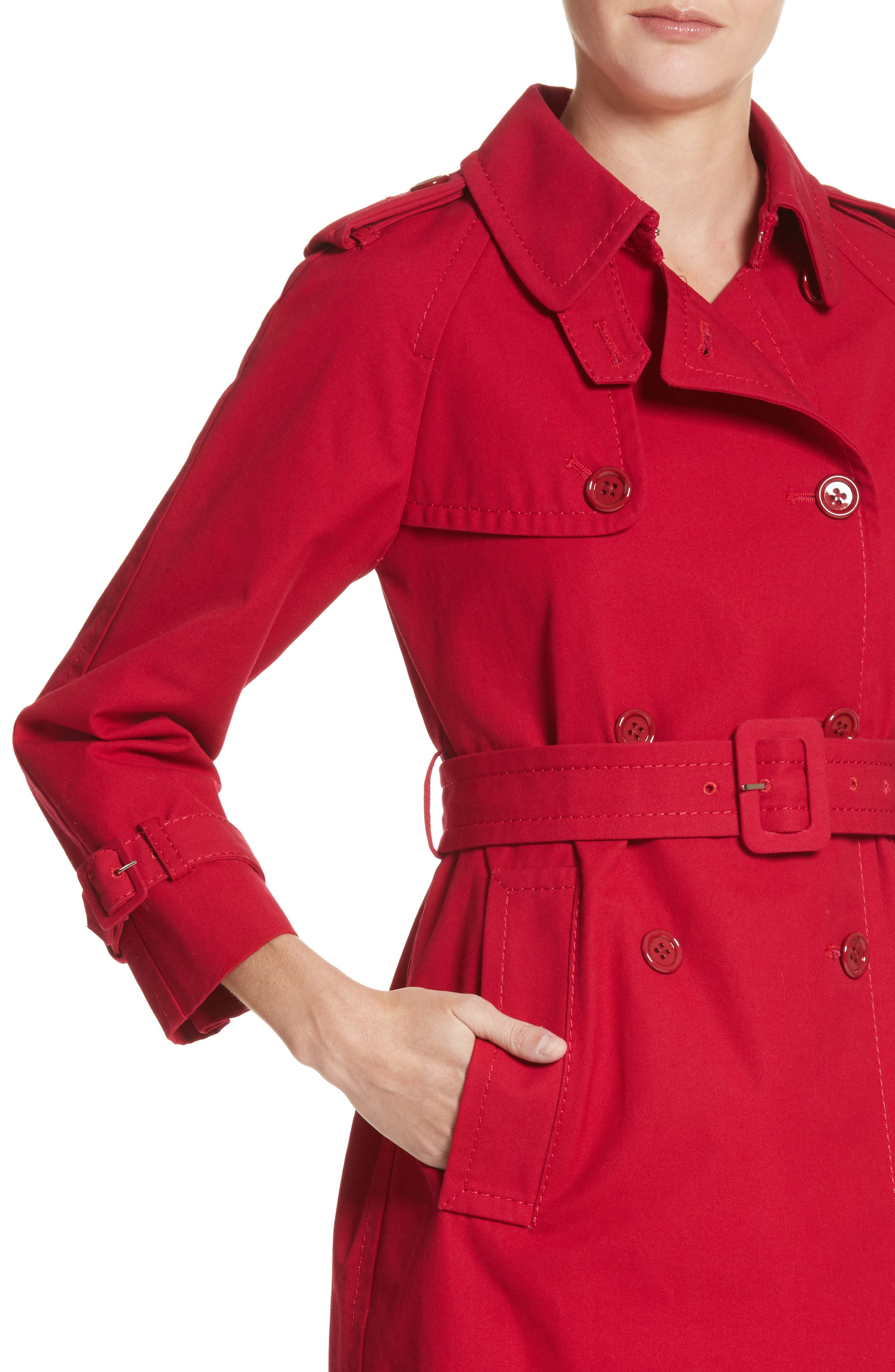 Shrunken Trench Coat,                             Alternate thumbnail 4, color,                             Red